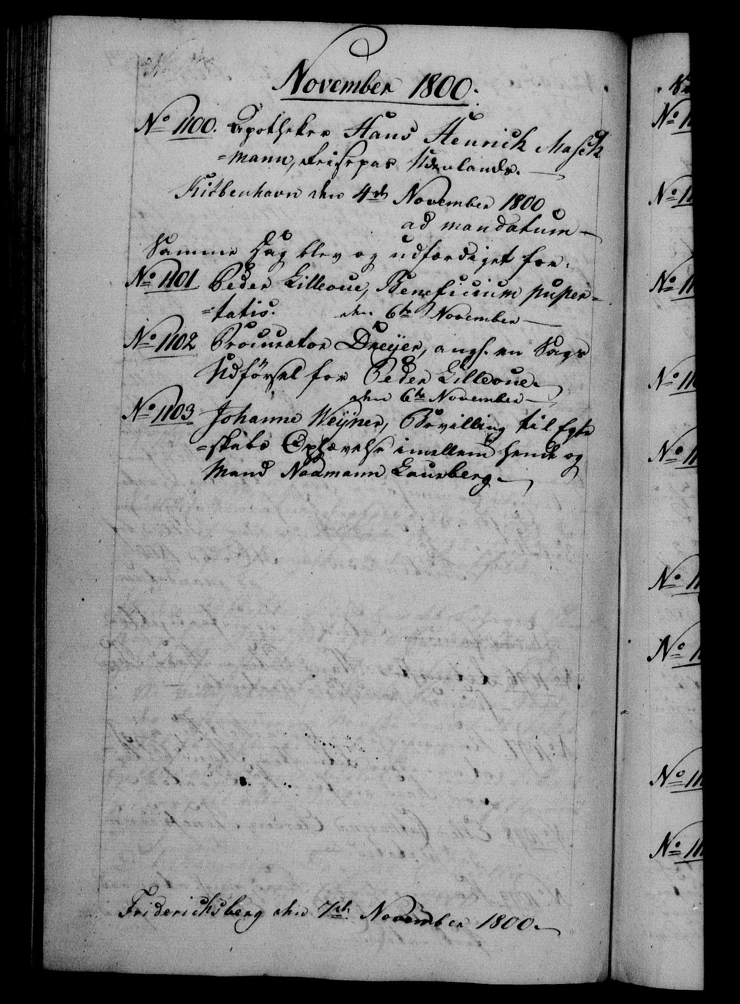 RA, Danske Kanselli 1800-1814, H/Hf/Hfb/Hfba/L0001: Registranter, 1800-1801, s. 324b