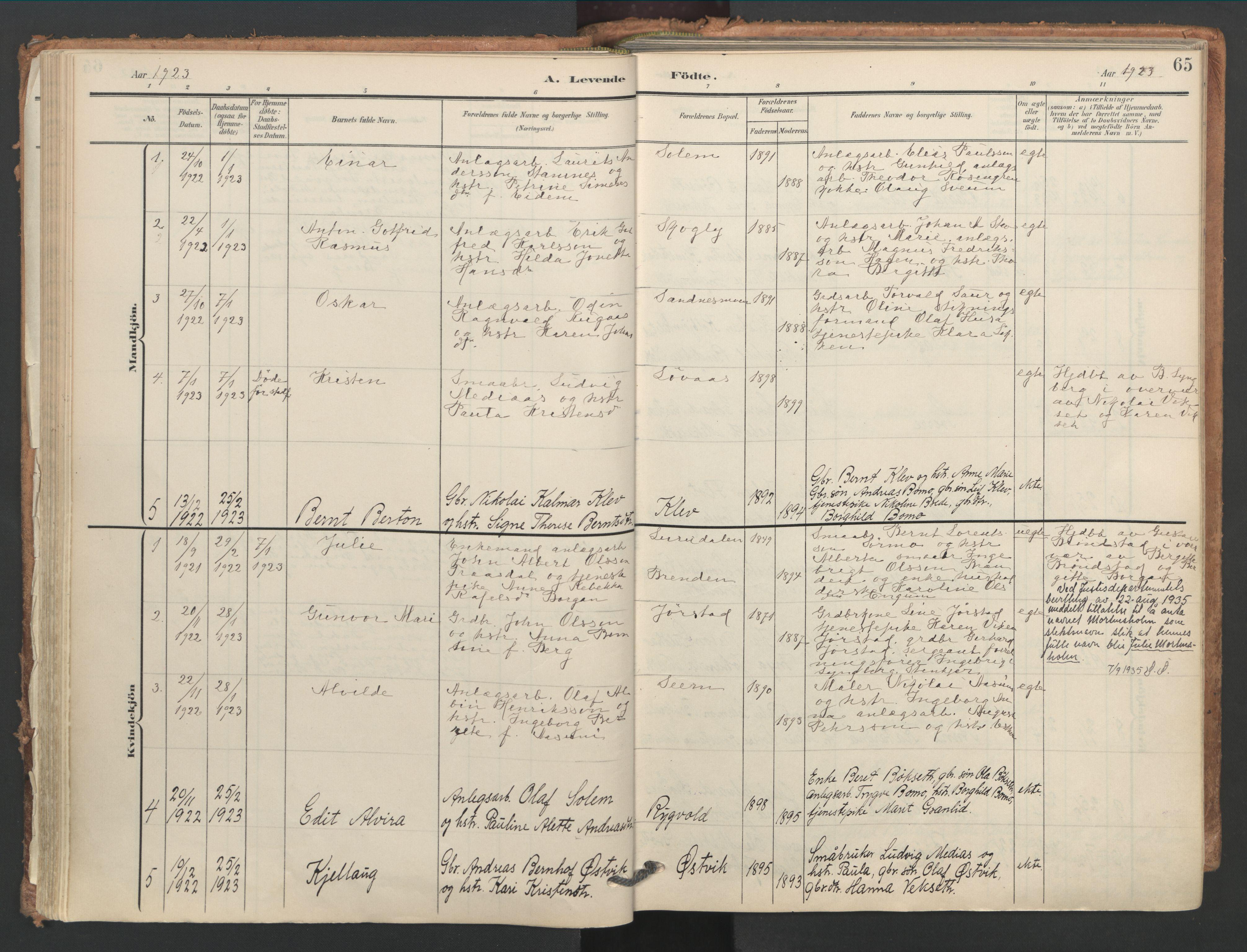 SAT, Ministerialprotokoller, klokkerbøker og fødselsregistre - Nord-Trøndelag, 749/L0477: Ministerialbok nr. 749A11, 1902-1927, s. 65