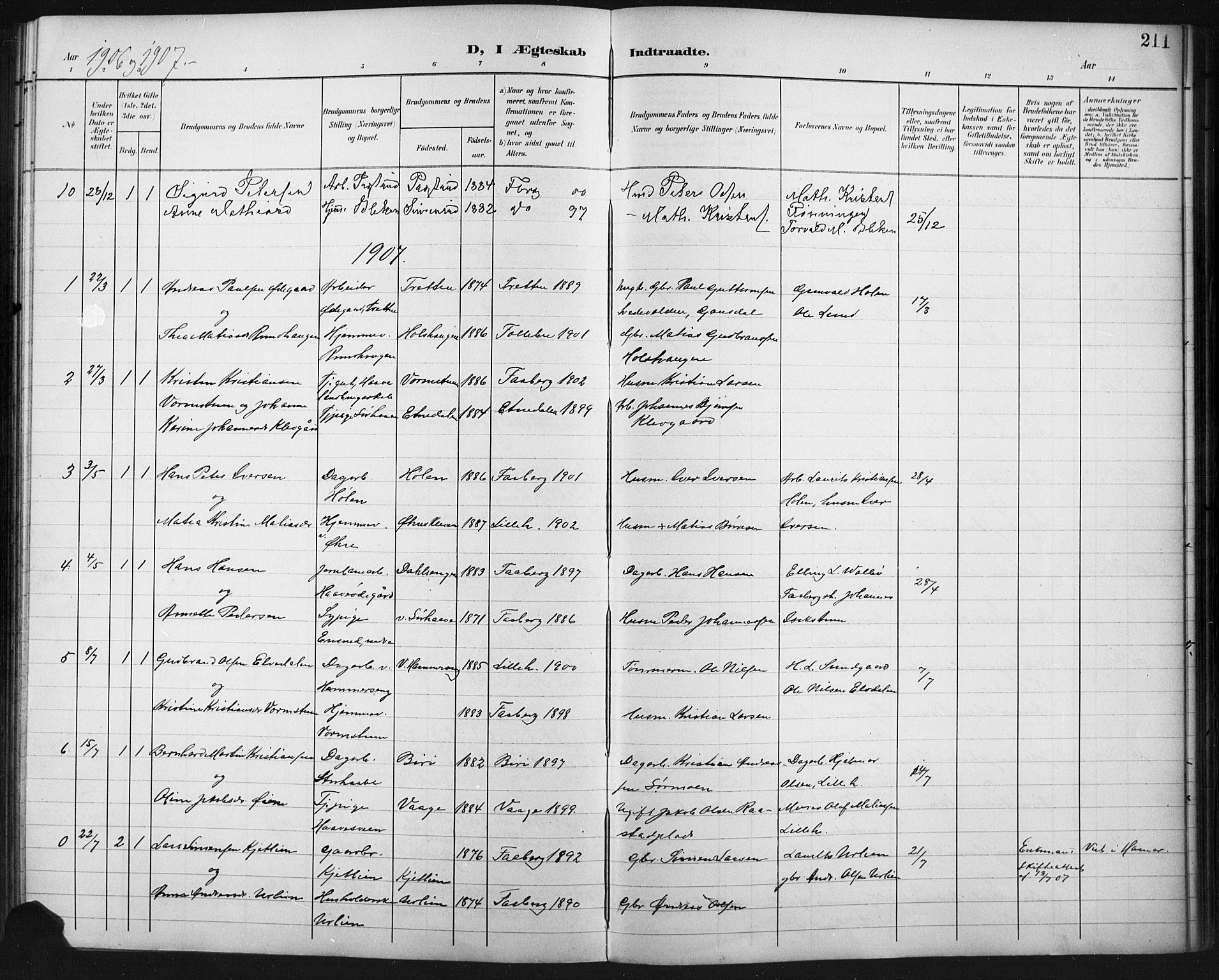 SAH, Fåberg prestekontor, Klokkerbok nr. 11, 1901-1921, s. 211