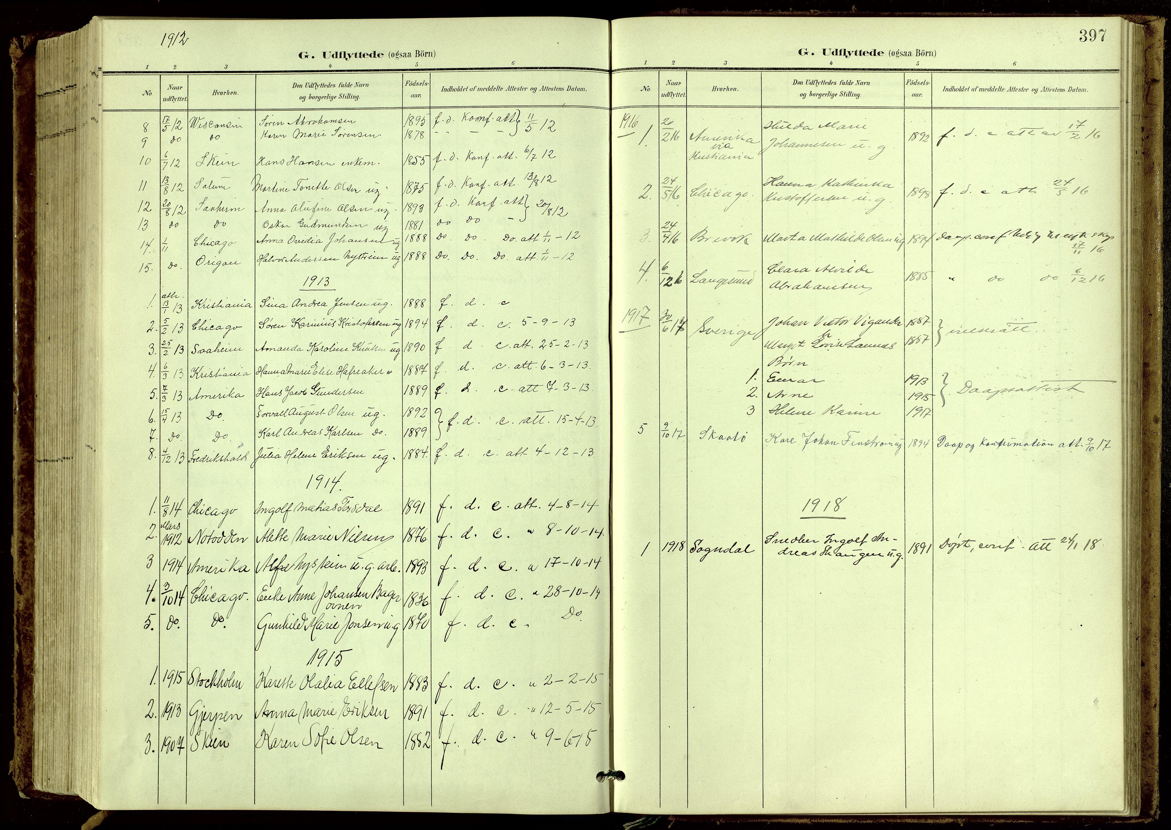 SAKO, Bamble kirkebøker, G/Ga/L0010: Klokkerbok nr. I 10, 1901-1919, s. 397
