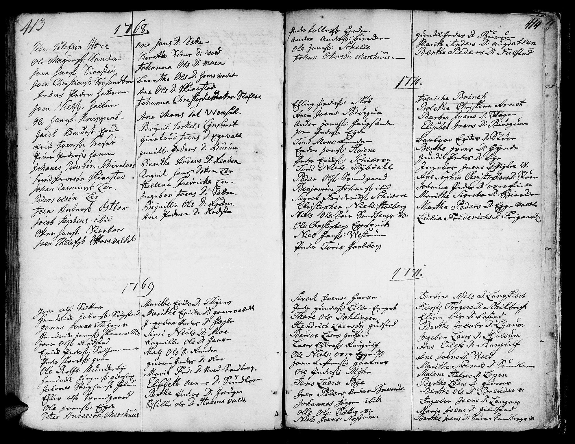 SAT, Ministerialprotokoller, klokkerbøker og fødselsregistre - Nord-Trøndelag, 717/L0141: Ministerialbok nr. 717A01, 1747-1803, s. 413-414