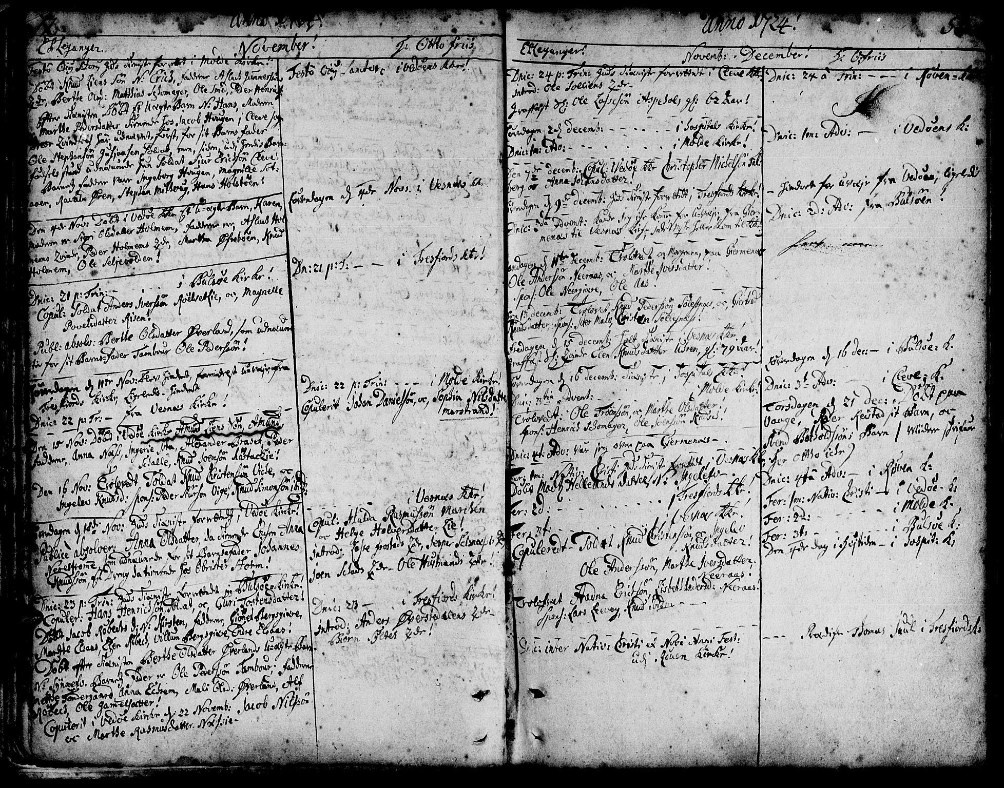 SAT, Ministerialprotokoller, klokkerbøker og fødselsregistre - Møre og Romsdal, 547/L0599: Ministerialbok nr. 547A01, 1721-1764, s. 54-55