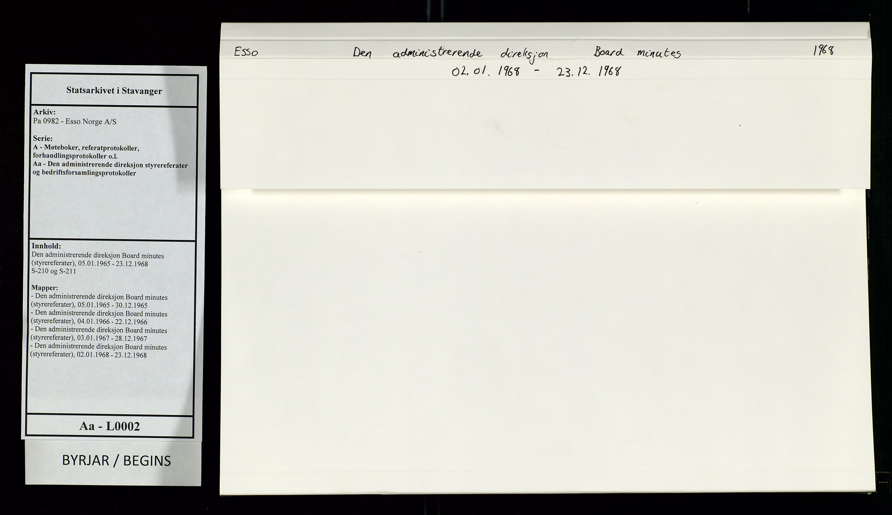SAST, Pa 0982 - Esso Norge A/S, A/Aa/L0002: Den administrerende direksjon Board minutes (styrereferater), 1968, s. 1