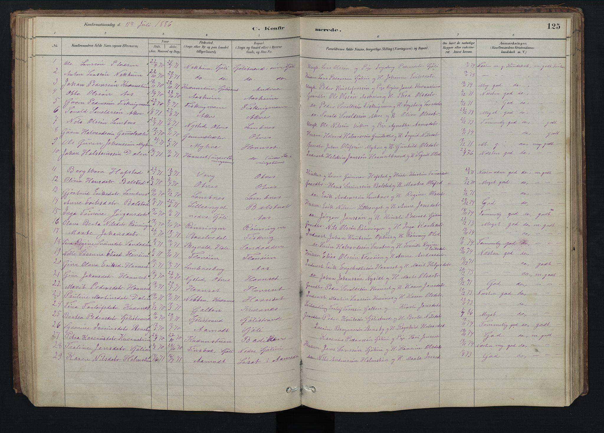 SAH, Rendalen prestekontor, H/Ha/Hab/L0009: Klokkerbok nr. 9, 1879-1902, s. 125