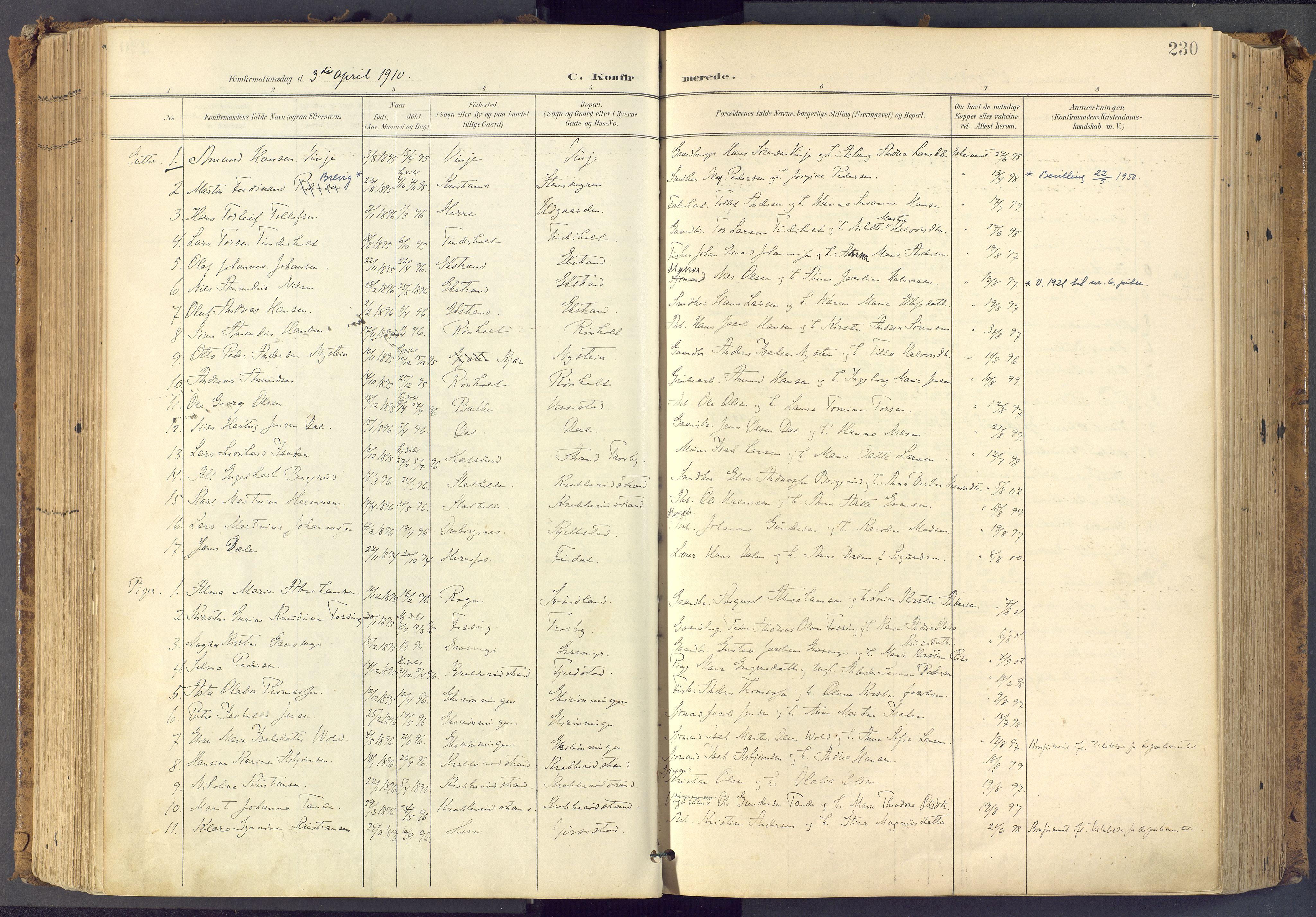 SAKO, Bamble kirkebøker, F/Fa/L0009: Ministerialbok nr. I 9, 1901-1917, s. 230