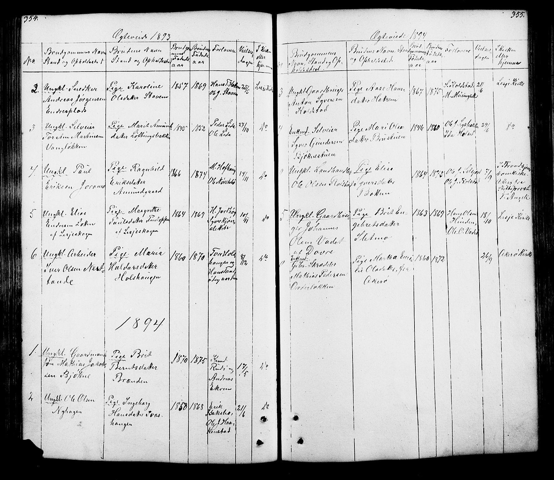 SAH, Lesja prestekontor, Klokkerbok nr. 5, 1850-1894, s. 354-355