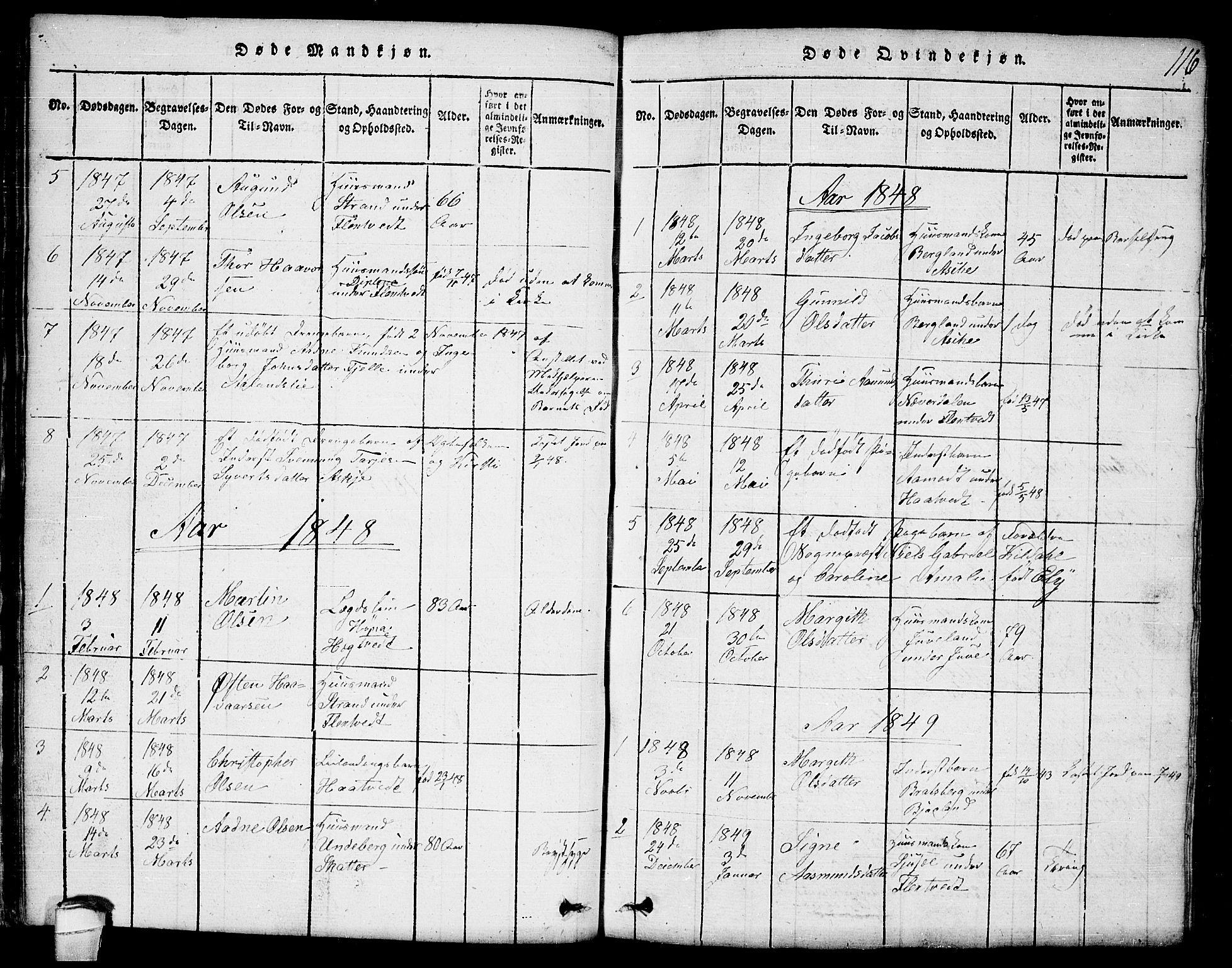 SAKO, Lårdal kirkebøker, G/Ga/L0001: Klokkerbok nr. I 1, 1815-1861, s. 116