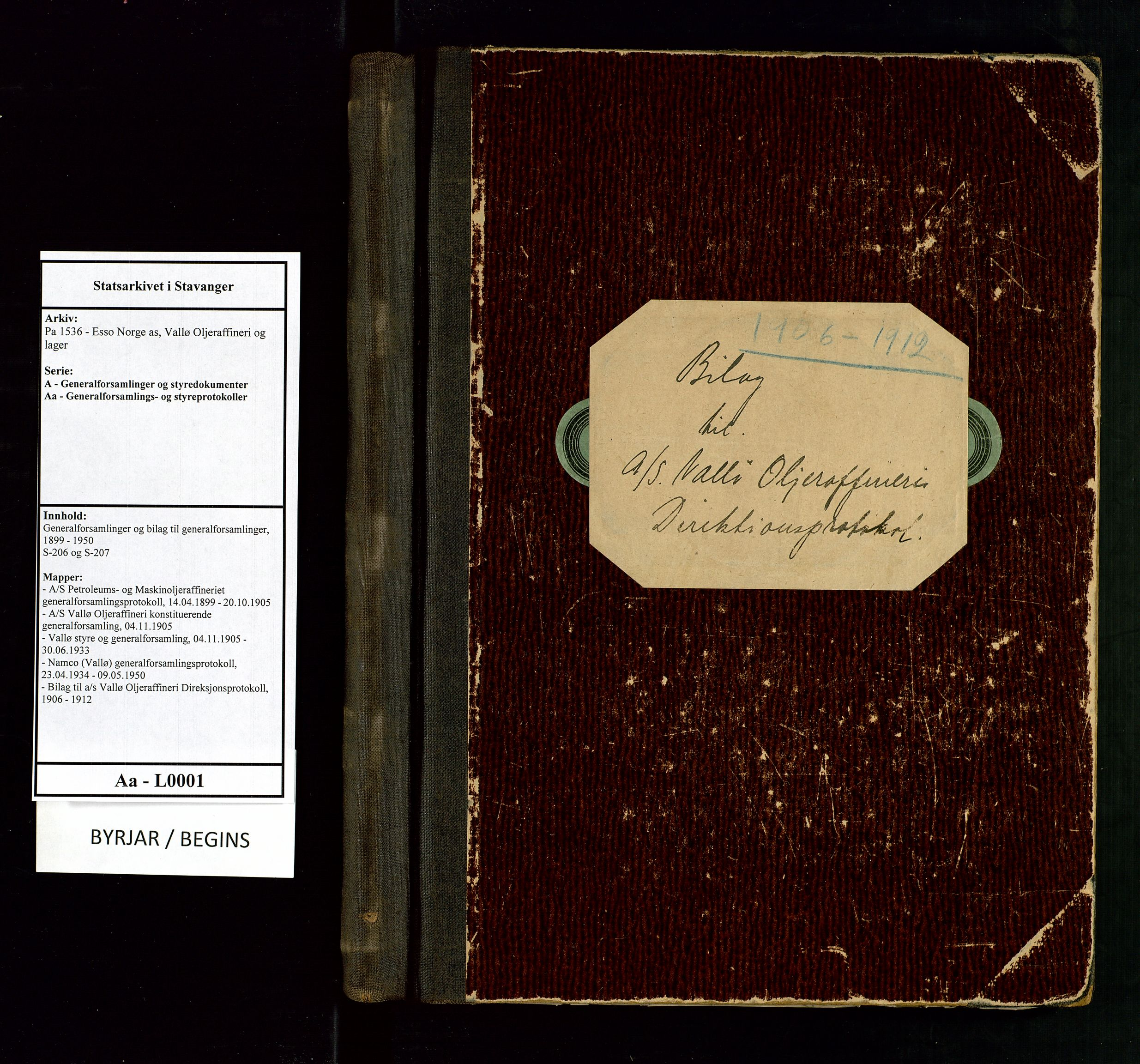 SAST, Pa 1536 - Esso Norge as, Vallø Oljeraffineri og lager, A/Aa/L0001: Generalforsamlinger og bilag til generalforsamlinger, 1906-1912, s. 1