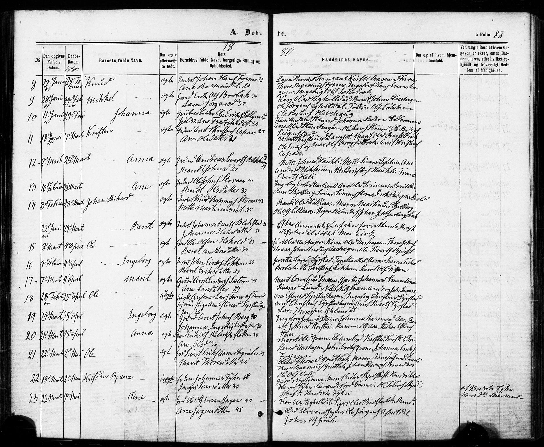 SAT, Ministerialprotokoller, klokkerbøker og fødselsregistre - Sør-Trøndelag, 672/L0856: Ministerialbok nr. 672A08, 1861-1881, s. 88