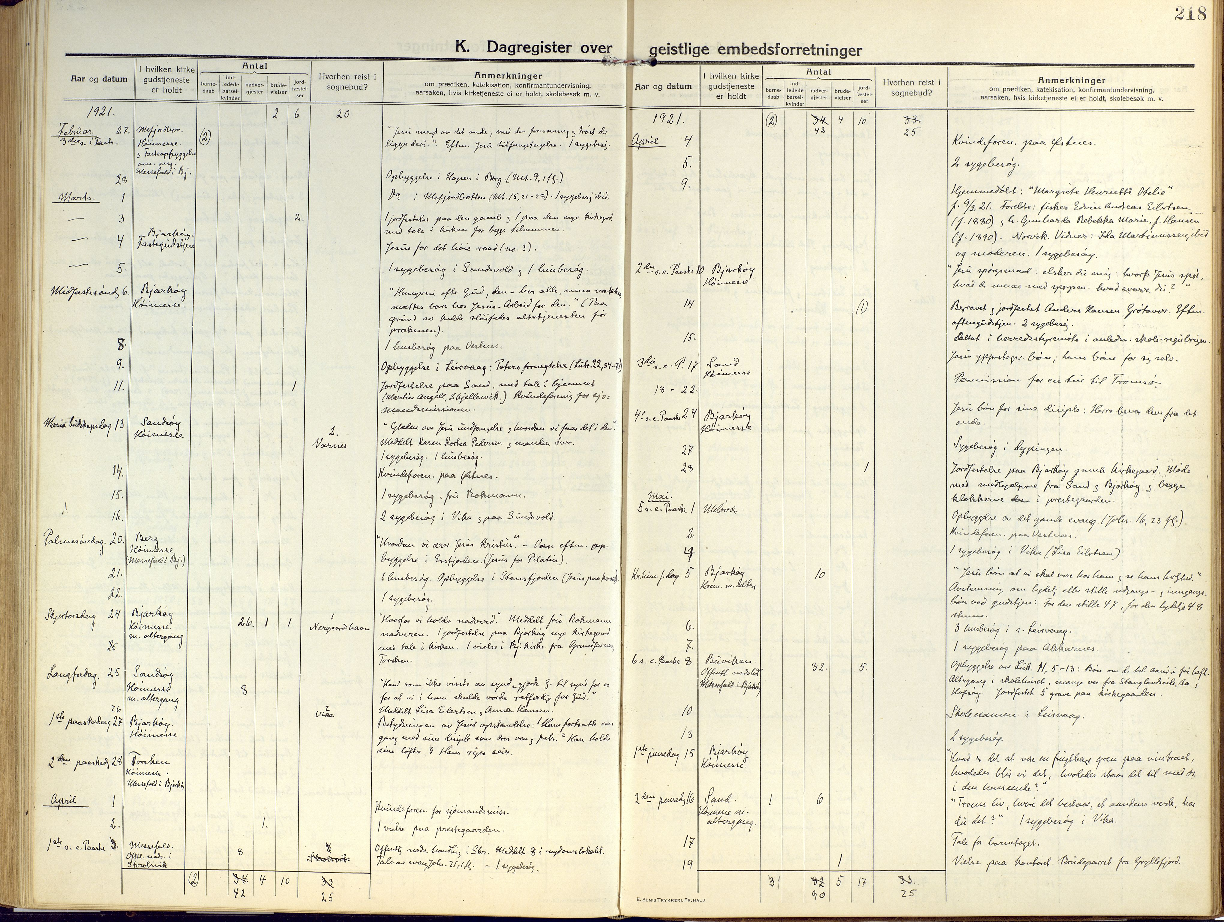 SATØ, Sand/Bjarkøy sokneprestkontor, I/Ia/Iaa/L0006kirke: Ministerialbok nr. 6, 1915-1929, s. 218