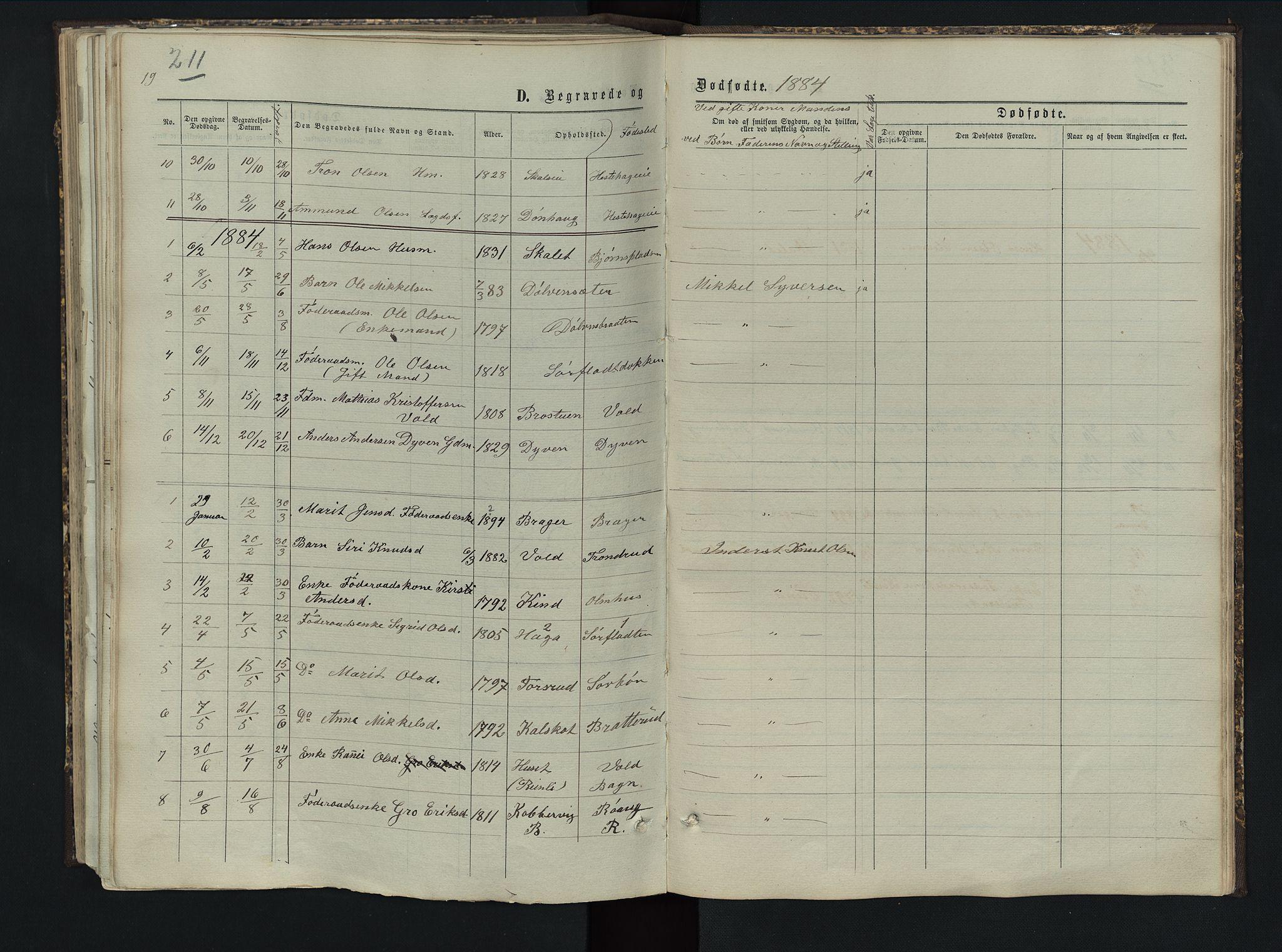 SAH, Sør-Aurdal prestekontor, Klokkerbok nr. 5, 1866-1893, s. 211