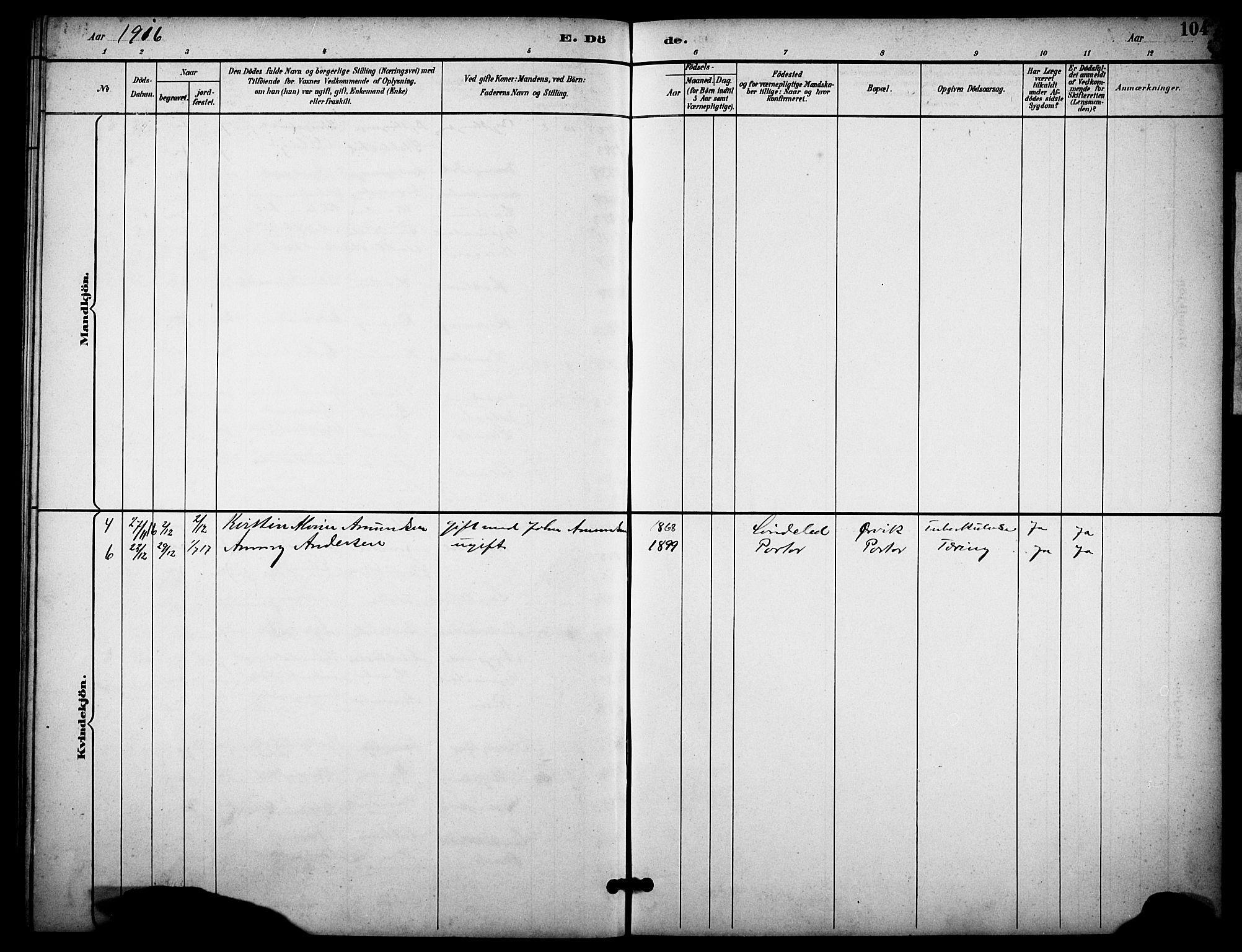 SAKO, Skåtøy kirkebøker, G/Gb/L0001: Klokkerbok nr. II 1, 1892-1916, s. 104