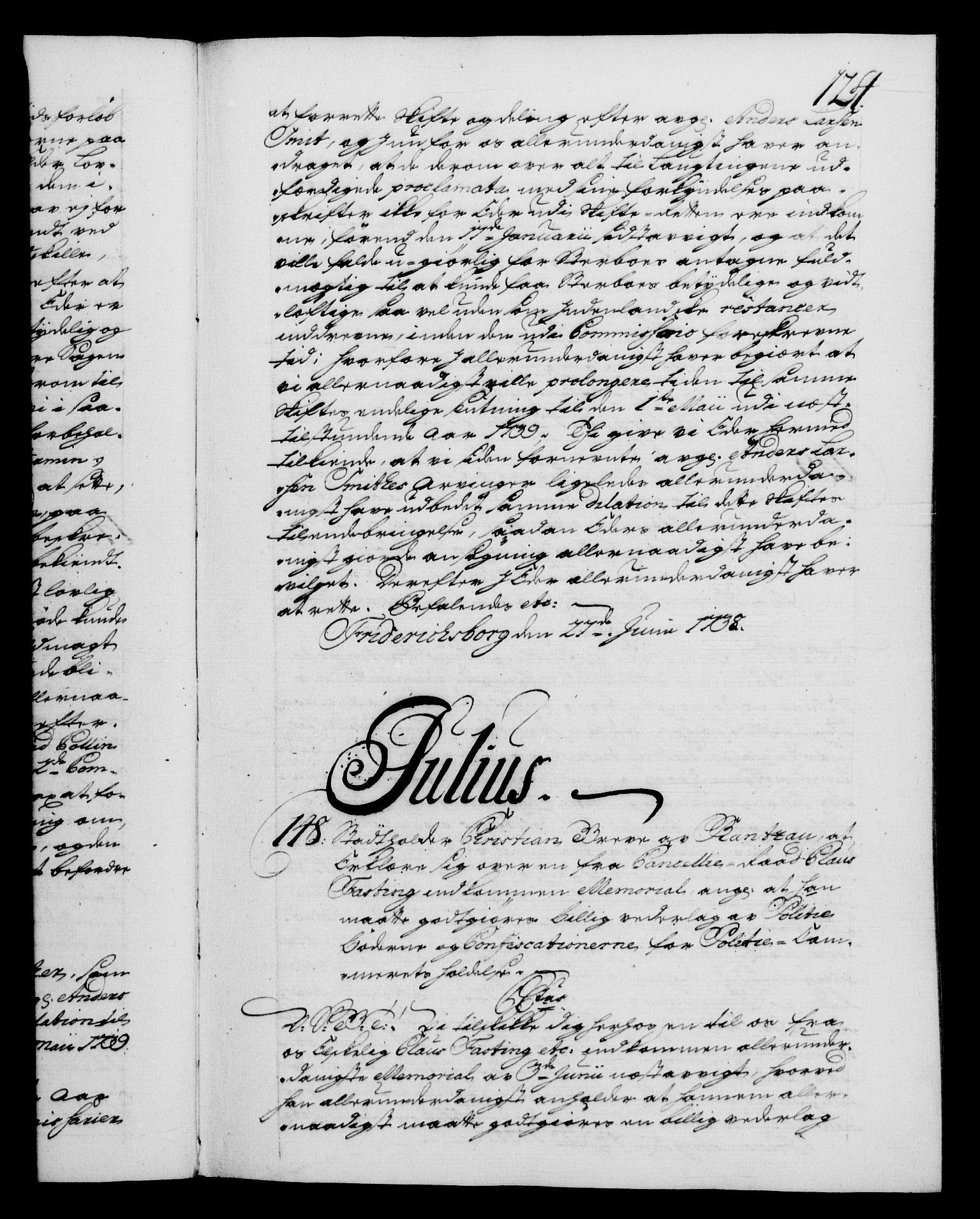 RA, Danske Kanselli 1572-1799, F/Fc/Fca/Fcab/L0028: Norske tegnelser, 1738-1740, s. 124a