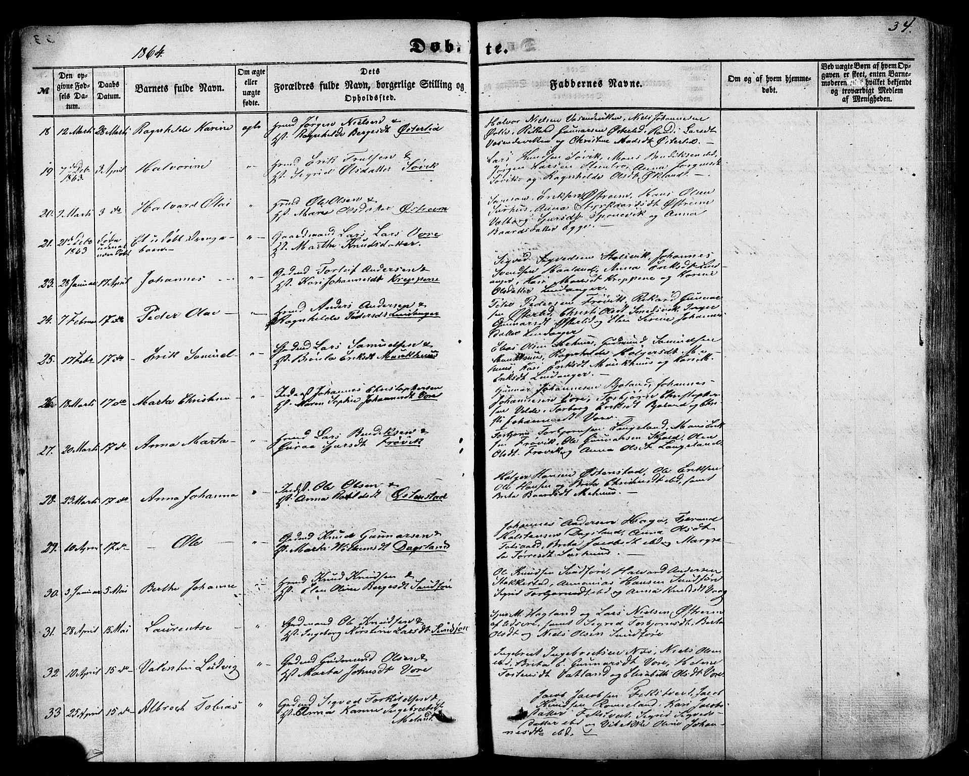 SAST, Skjold sokneprestkontor, H/Ha/Haa/L0008: Ministerialbok nr. A 8, 1856-1882, s. 34
