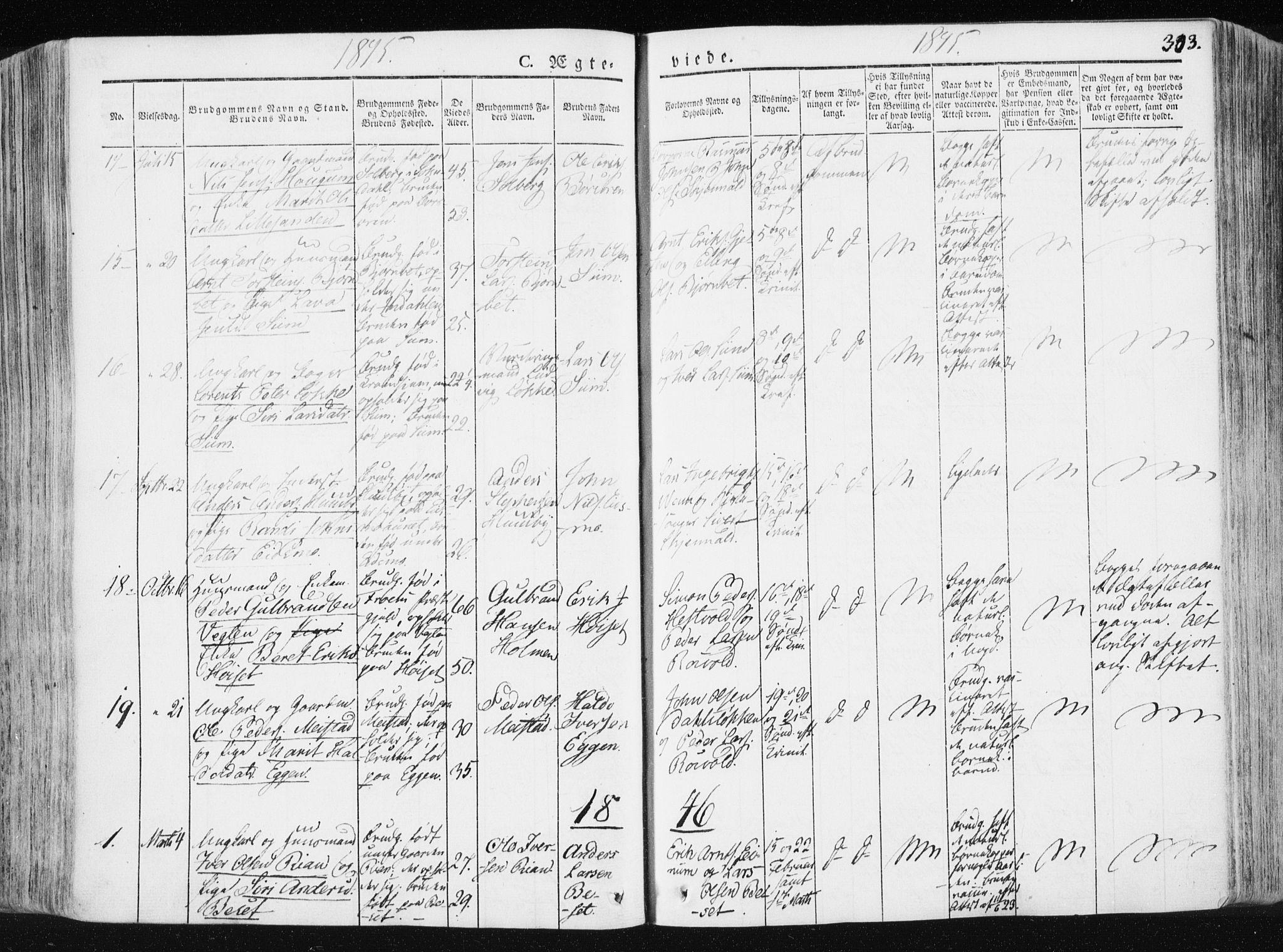 SAT, Ministerialprotokoller, klokkerbøker og fødselsregistre - Sør-Trøndelag, 665/L0771: Ministerialbok nr. 665A06, 1830-1856, s. 303