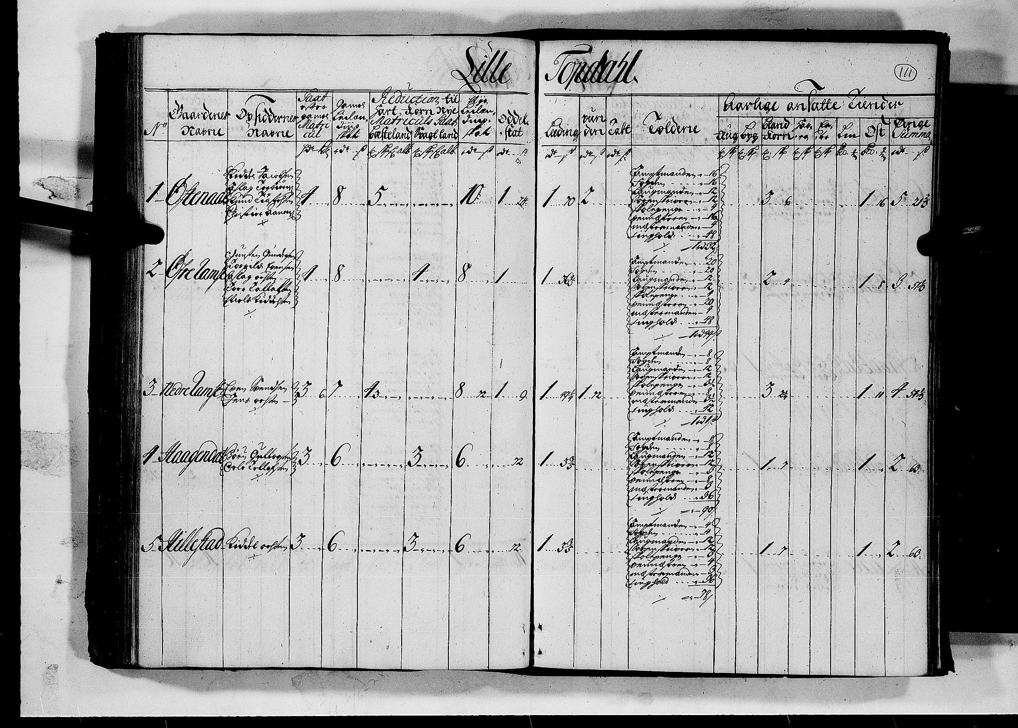 RA, Rentekammeret inntil 1814, Realistisk ordnet avdeling, N/Nb/Nbf/L0126: Råbyggelag matrikkelprotokoll, 1723, s. 110b-111a