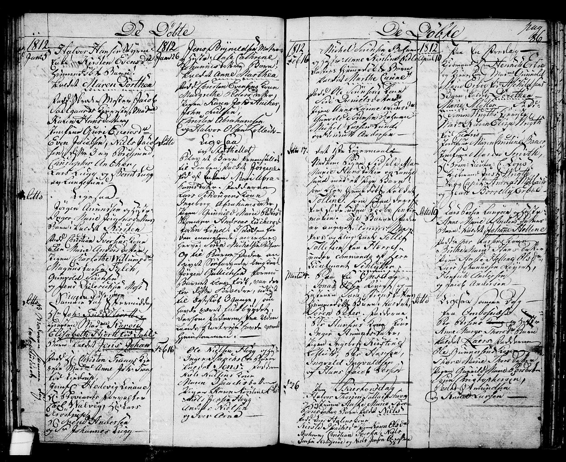 SAKO, Langesund kirkebøker, G/Ga/L0002: Klokkerbok nr. 2, 1801-1815, s. 86