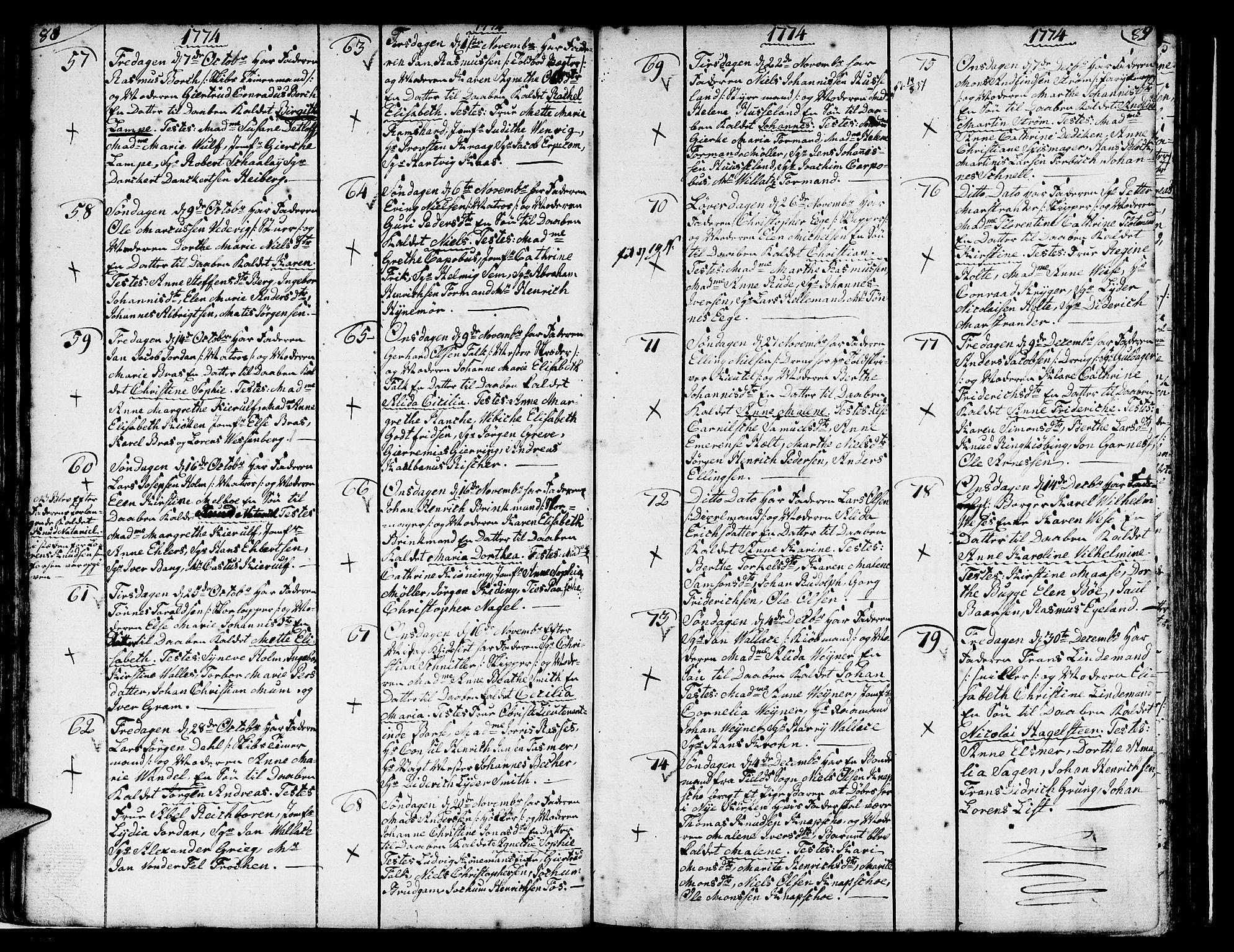 SAB, Nykirken Sokneprestembete, H/Haa: Ministerialbok nr. A 4, 1765-1775, s. 88-89