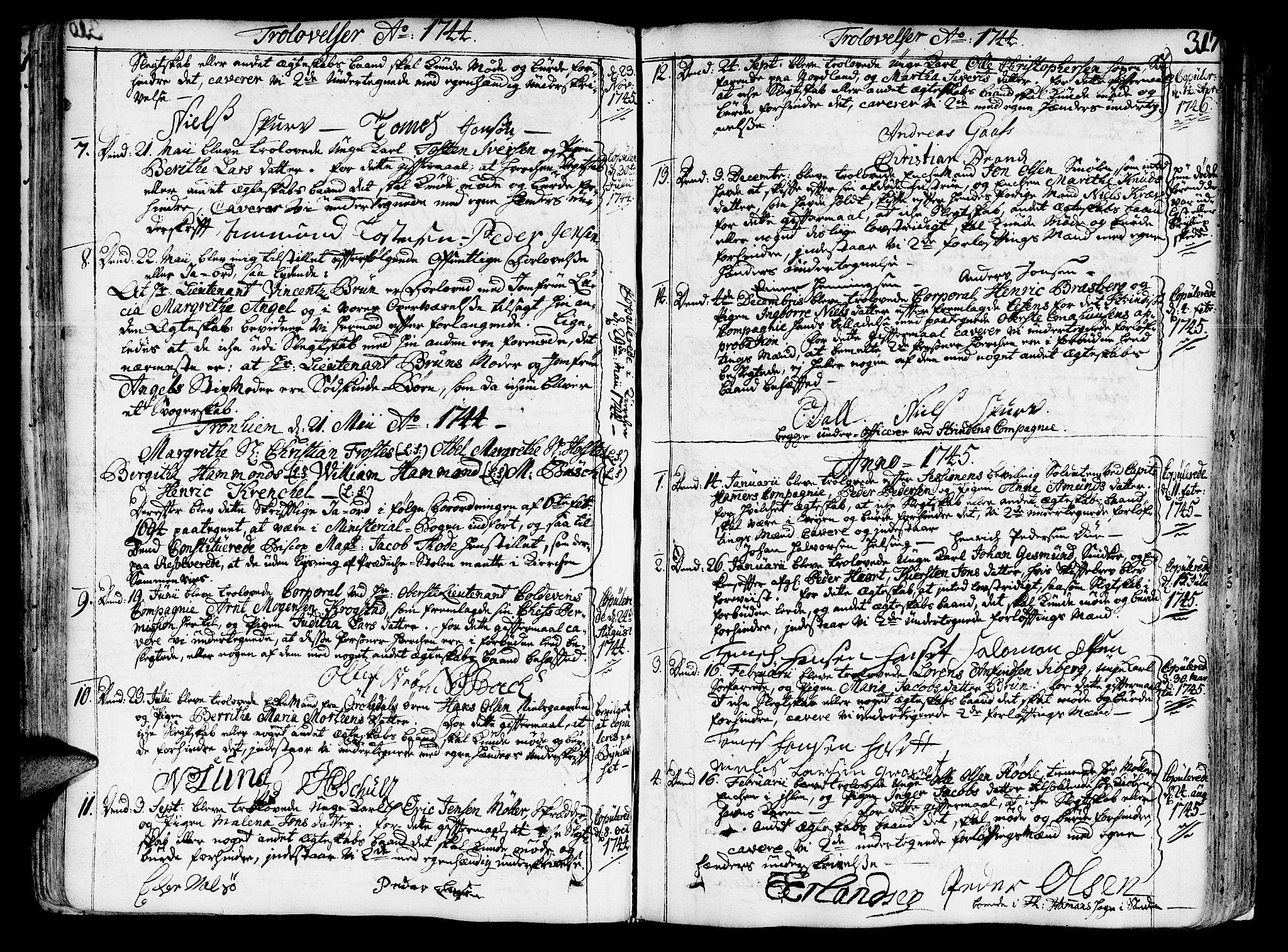 SAT, Ministerialprotokoller, klokkerbøker og fødselsregistre - Sør-Trøndelag, 602/L0103: Ministerialbok nr. 602A01, 1732-1774, s. 317