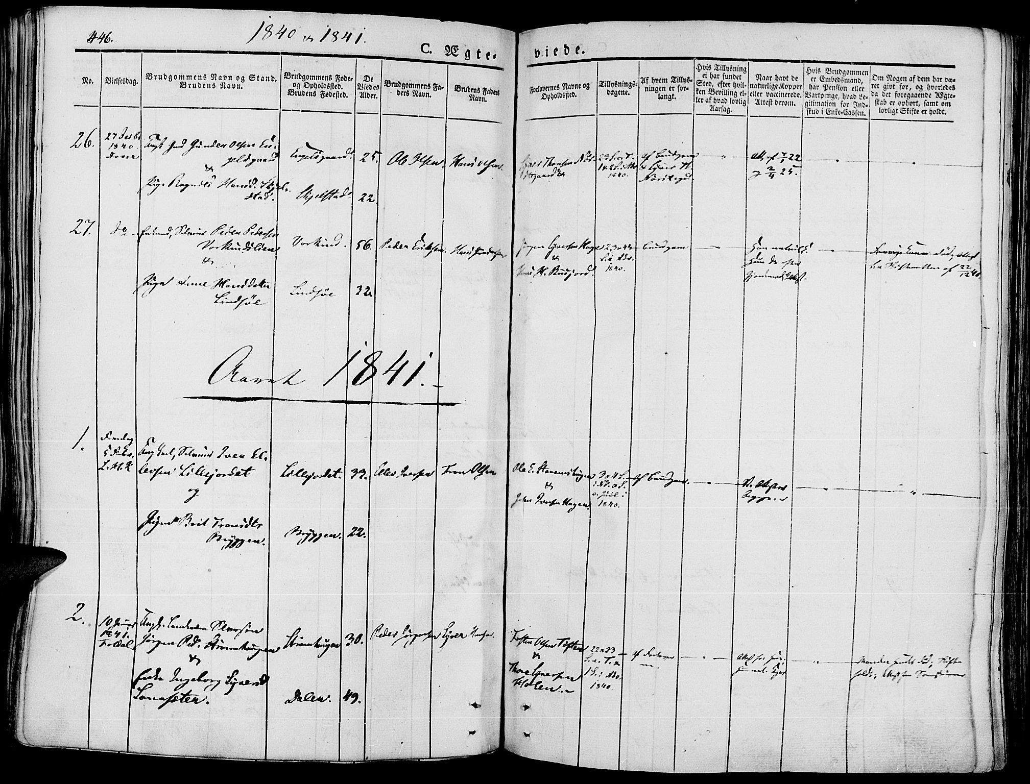 SAH, Lesja prestekontor, Ministerialbok nr. 5, 1830-1842, s. 446