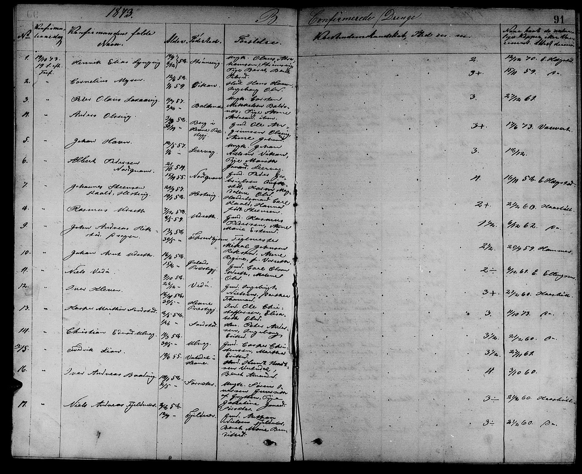 SAT, Ministerialprotokoller, klokkerbøker og fødselsregistre - Sør-Trøndelag, 637/L0561: Klokkerbok nr. 637C02, 1873-1882, s. 91