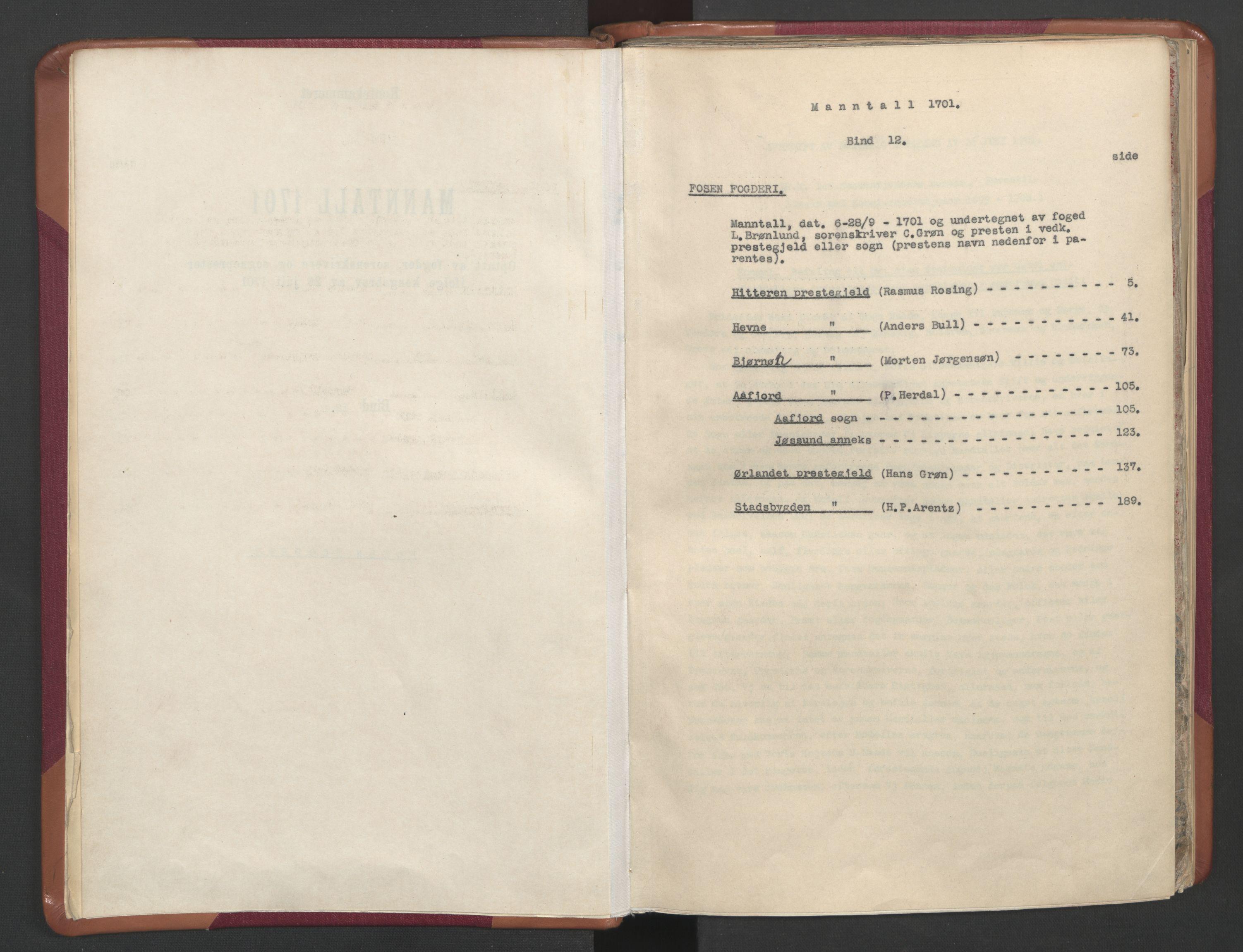 RA, Manntallet 1701, nr. 12: Fosen fogderi, 1701, s. upaginert