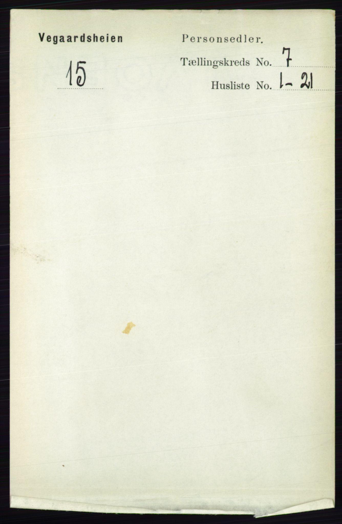 RA, Folketelling 1891 for 0912 Vegårshei herred, 1891, s. 1333