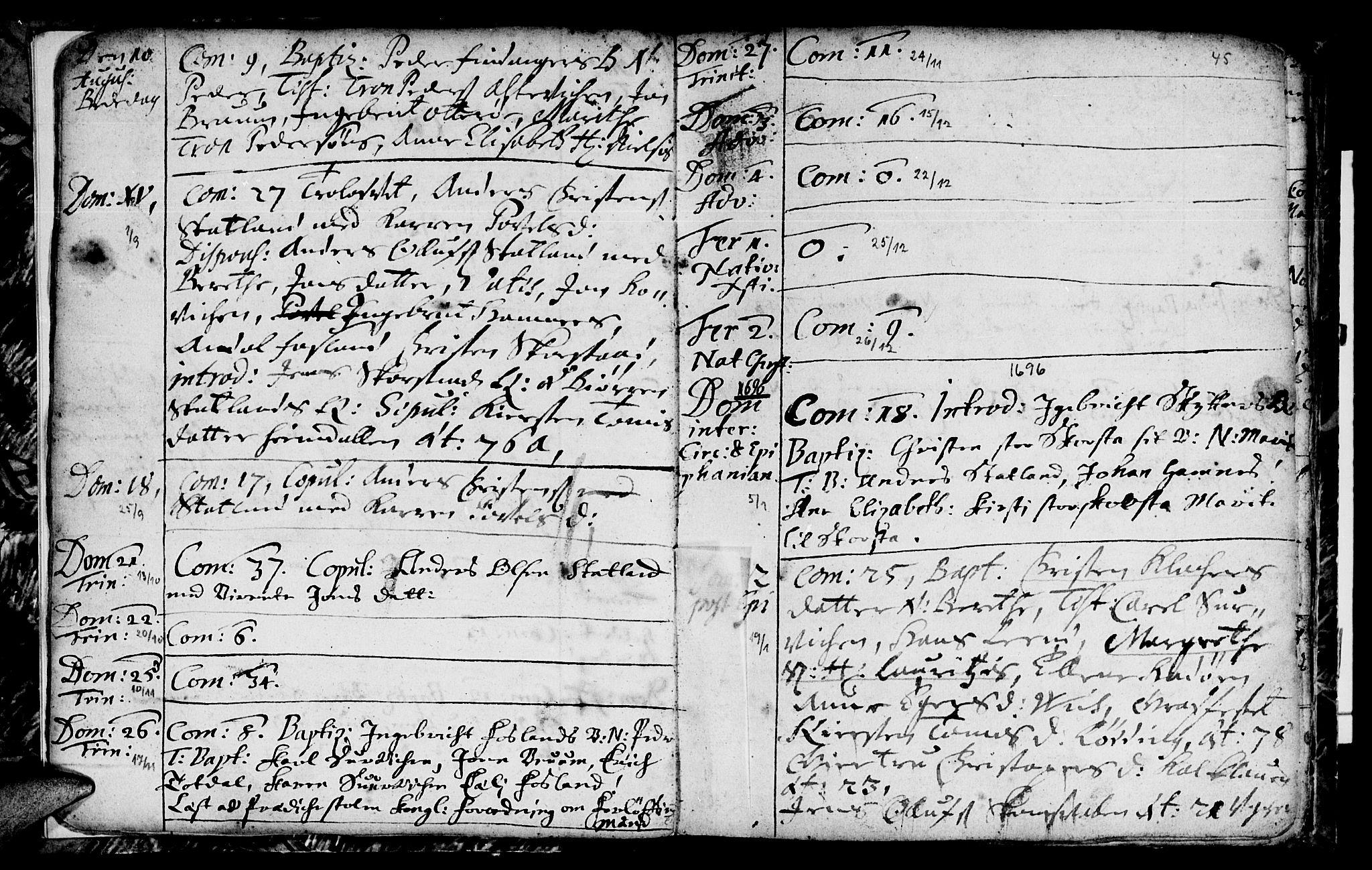 SAT, Ministerialprotokoller, klokkerbøker og fødselsregistre - Nord-Trøndelag, 774/L0627: Ministerialbok nr. 774A01, 1693-1738, s. 44-45