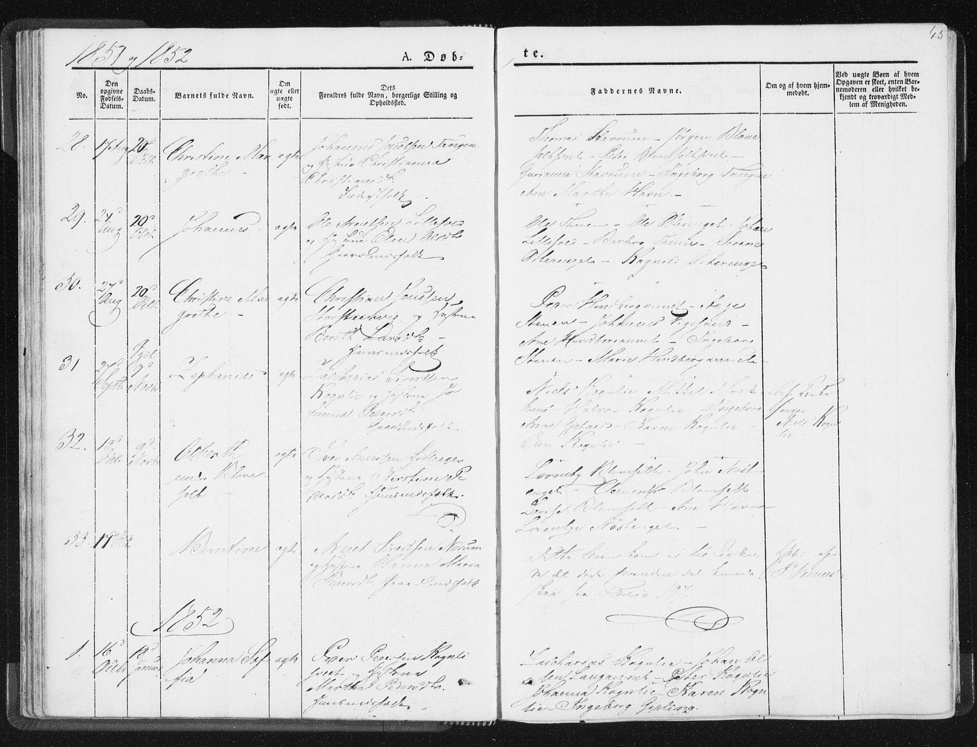 SAT, Ministerialprotokoller, klokkerbøker og fødselsregistre - Nord-Trøndelag, 744/L0418: Ministerialbok nr. 744A02, 1843-1866, s. 45