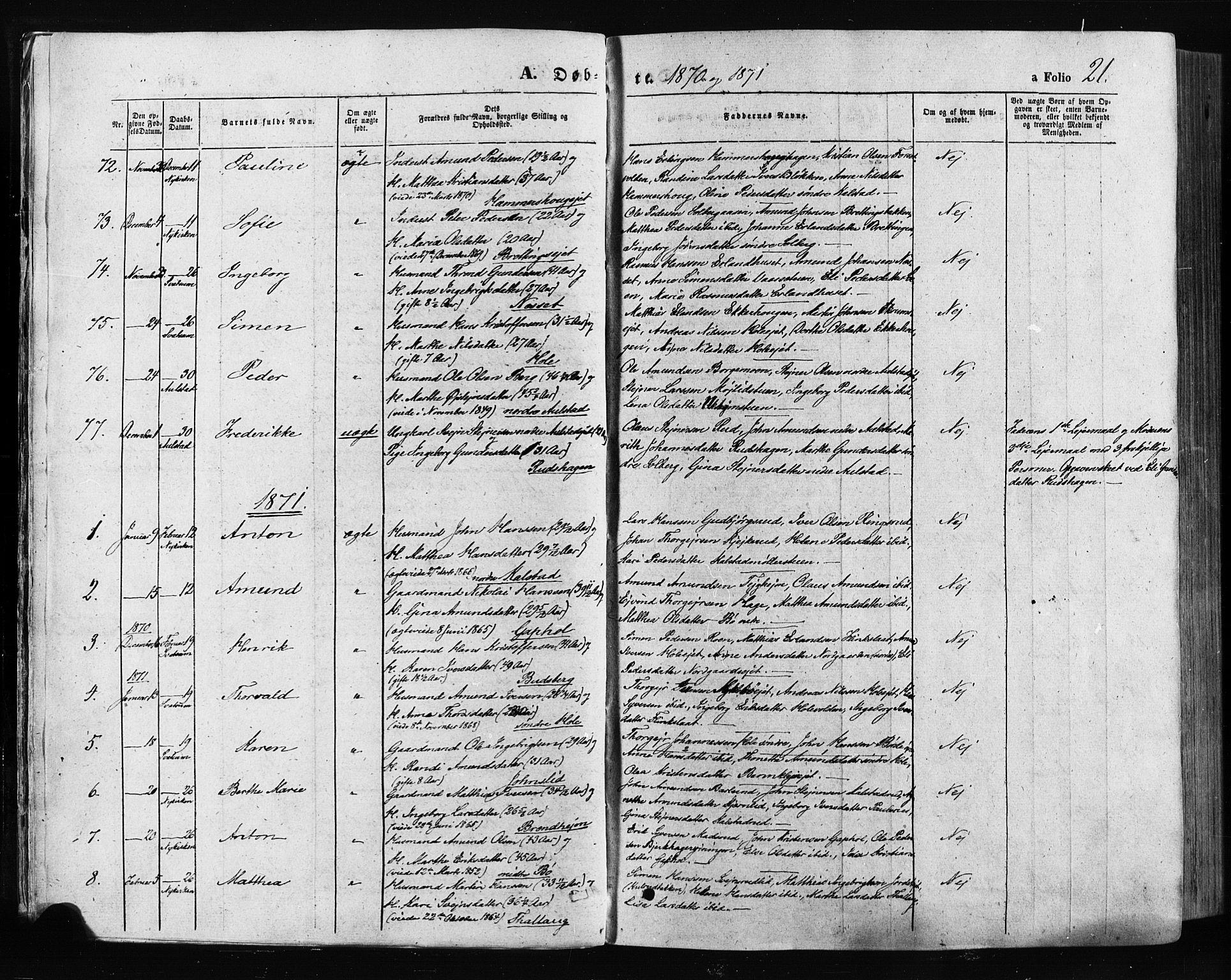 SAH, Gausdal prestekontor, Ministerialbok nr. 10, 1867-1886, s. 21