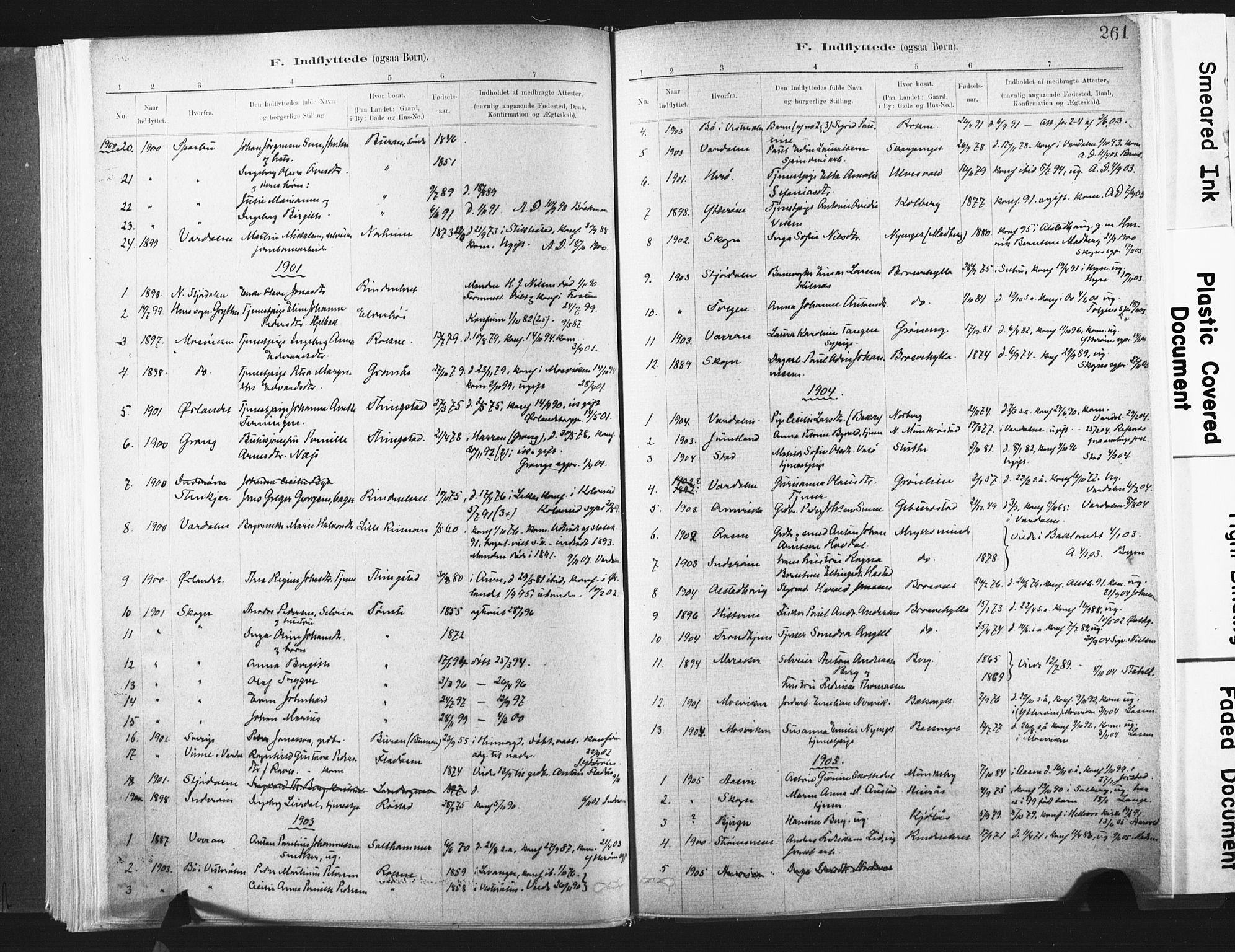 SAT, Ministerialprotokoller, klokkerbøker og fødselsregistre - Nord-Trøndelag, 721/L0207: Ministerialbok nr. 721A02, 1880-1911, s. 261
