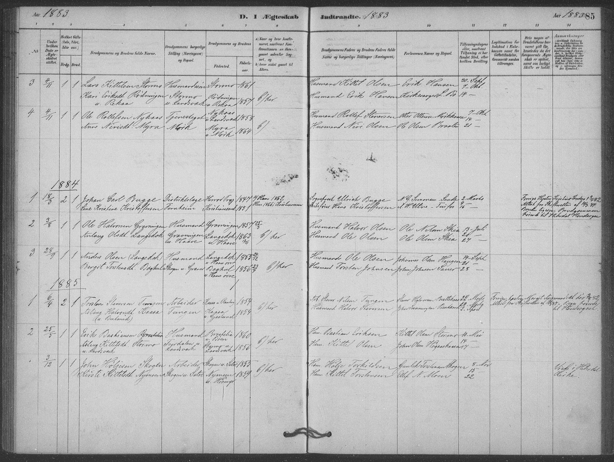 SAKO, Heddal kirkebøker, F/Fb/L0002: Ministerialbok nr. II 2, 1878-1913, s. 85