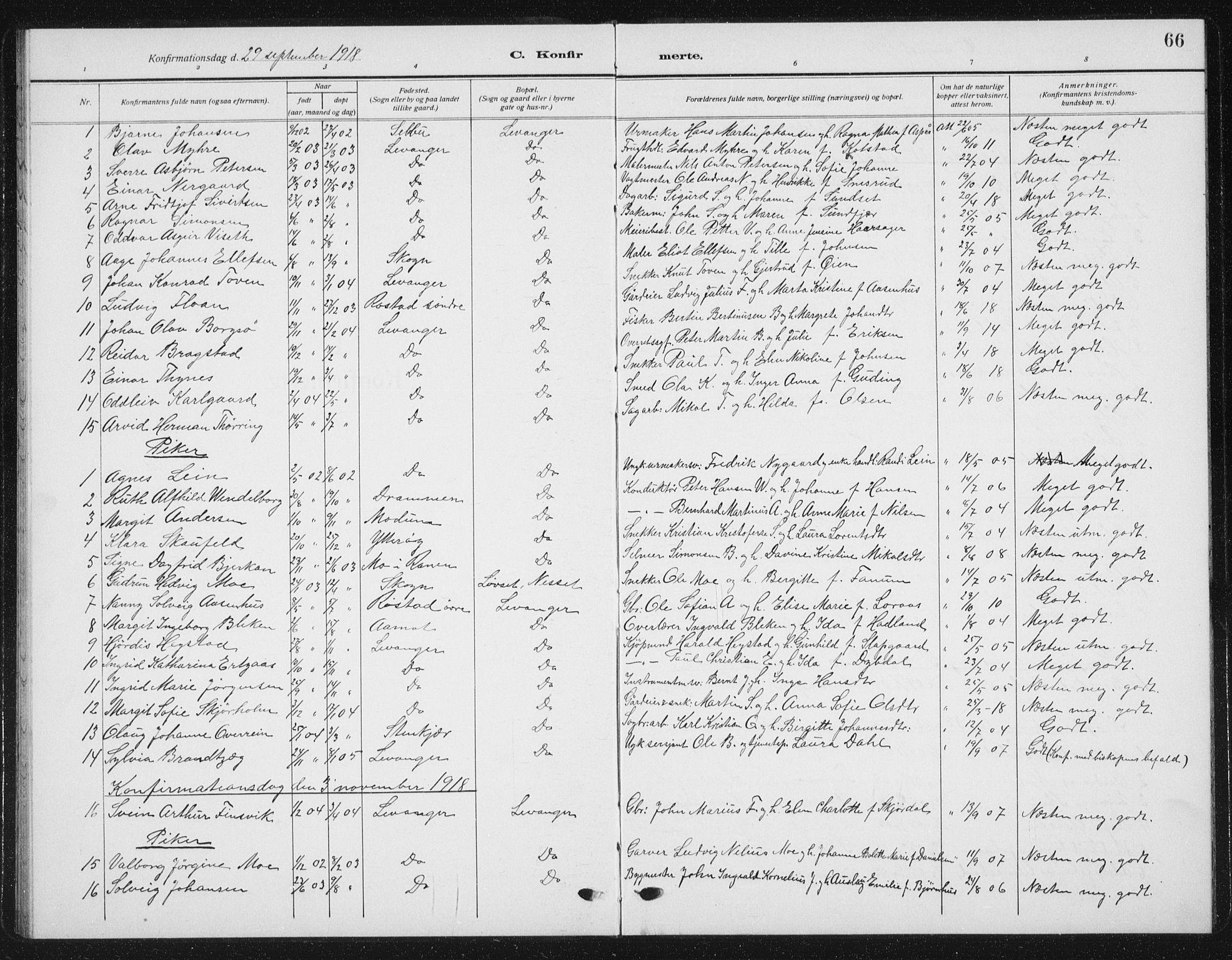 SAT, Ministerialprotokoller, klokkerbøker og fødselsregistre - Nord-Trøndelag, 720/L0193: Klokkerbok nr. 720C02, 1918-1941, s. 66