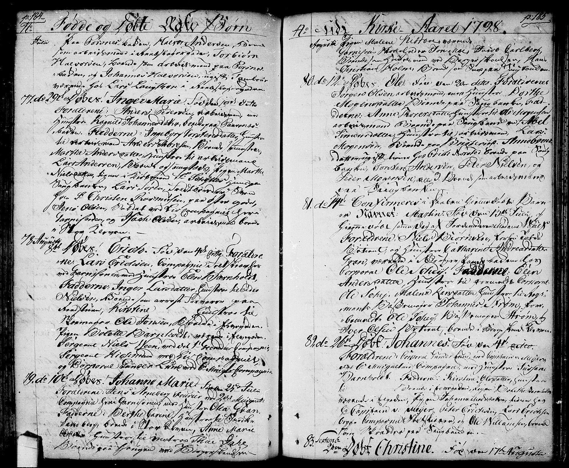 SAO, Halden prestekontor Kirkebøker, F/Fa/L0002: Ministerialbok nr. I 2, 1792-1812, s. 184-185