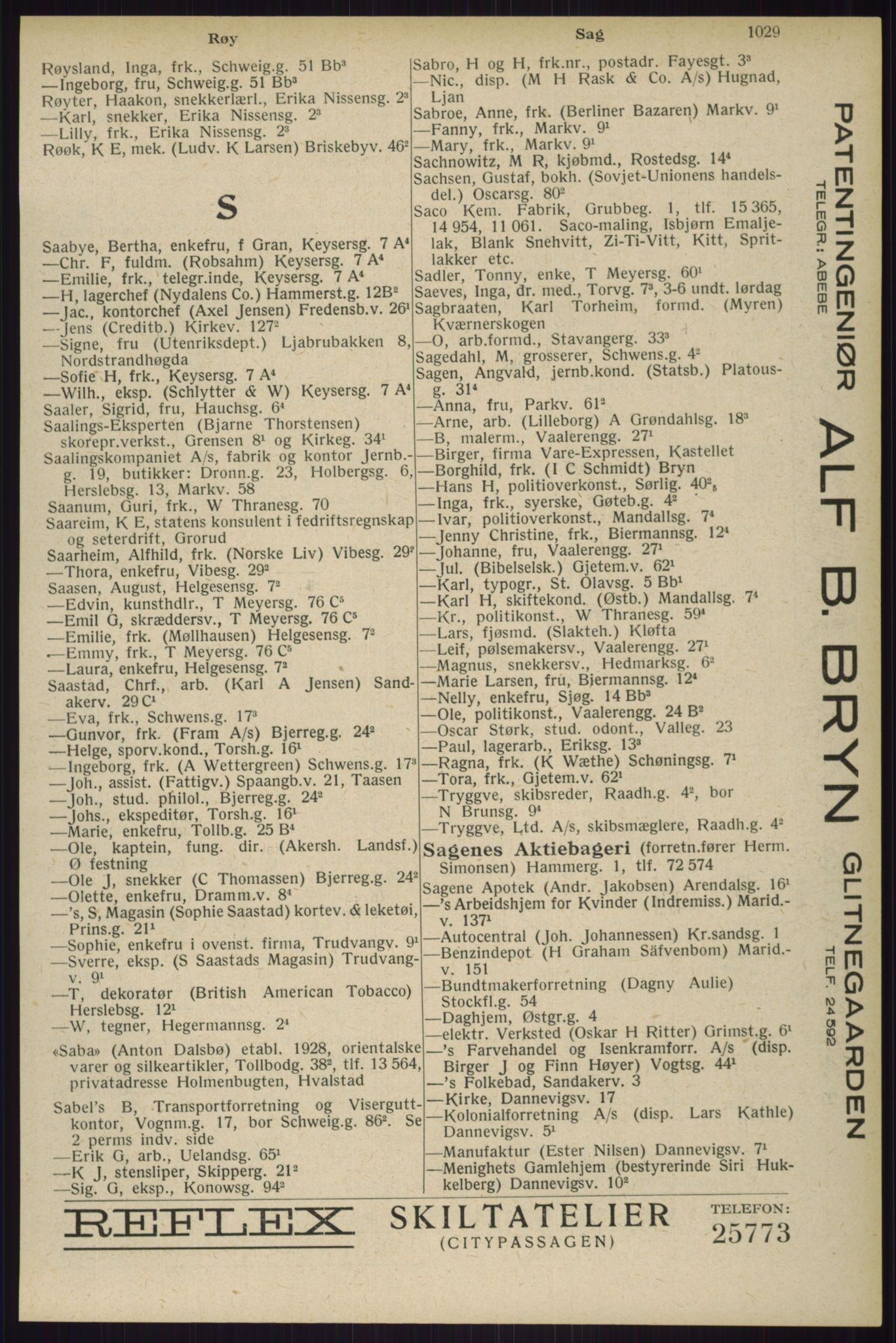 RA, Oslo adressebok (publikasjon)*, 1929, s. 1029