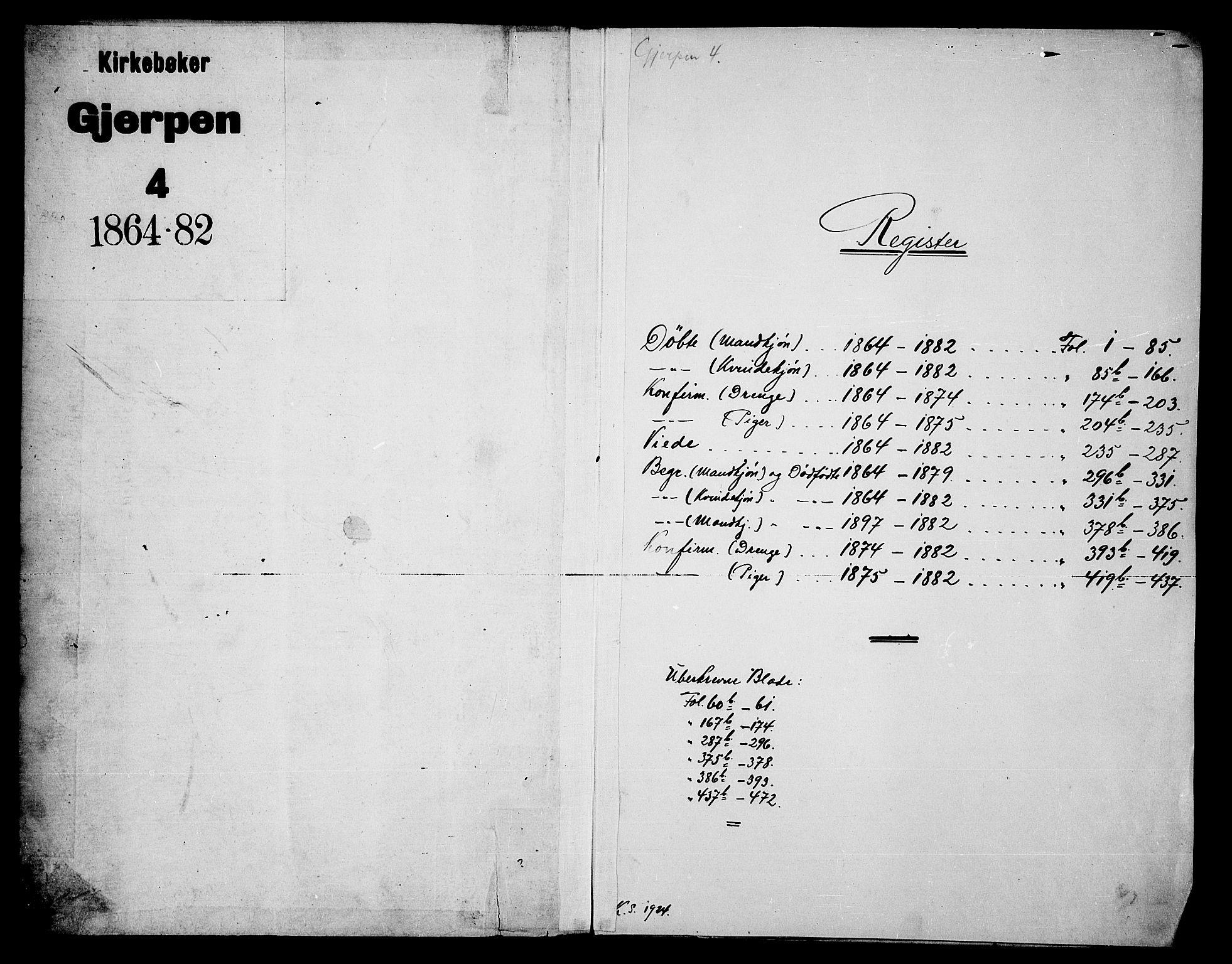 SAKO, Gjerpen kirkebøker, G/Ga/L0001: Klokkerbok nr. I 1, 1864-1882