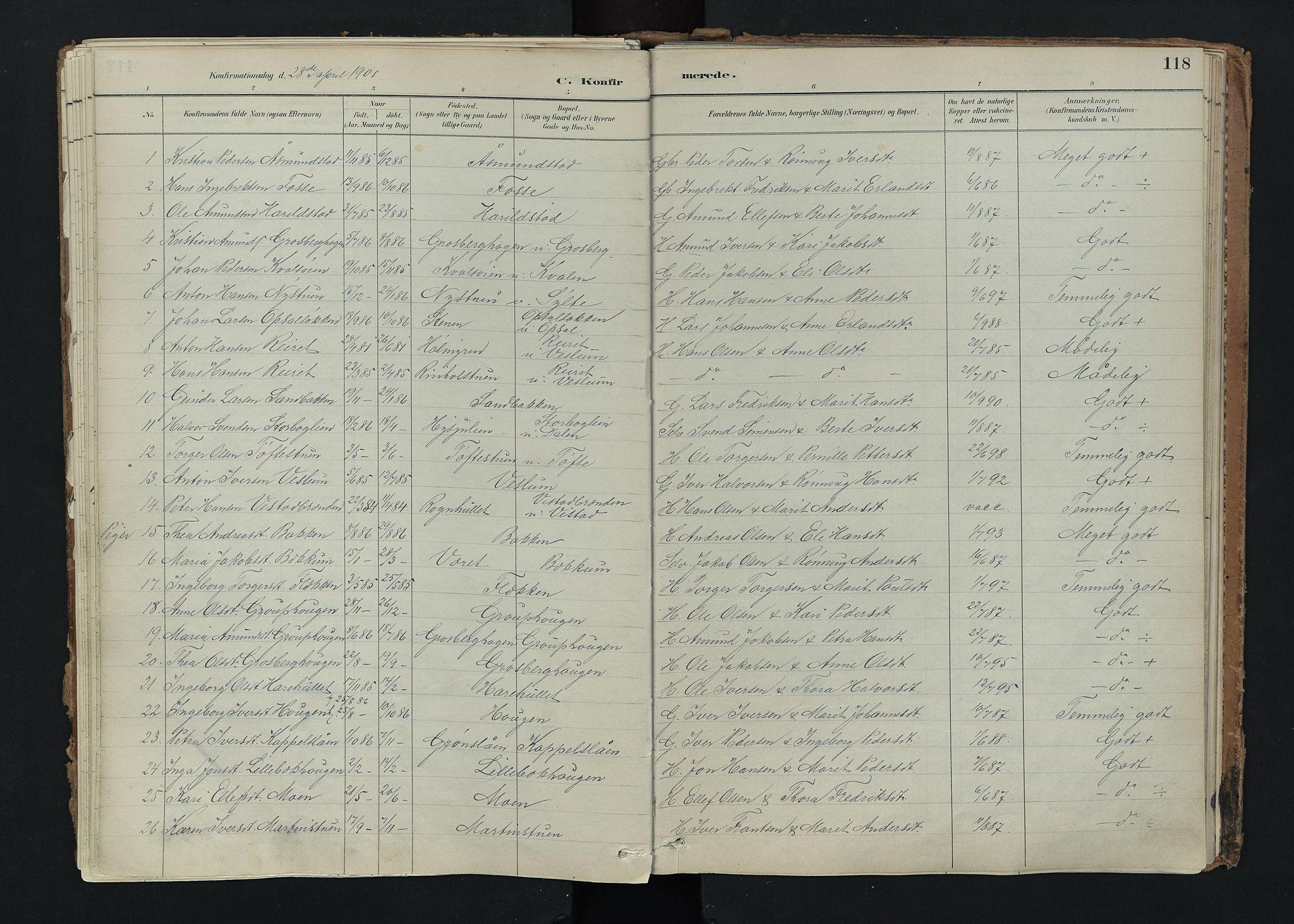 SAH, Nord-Fron prestekontor, Ministerialbok nr. 5, 1884-1914, s. 118