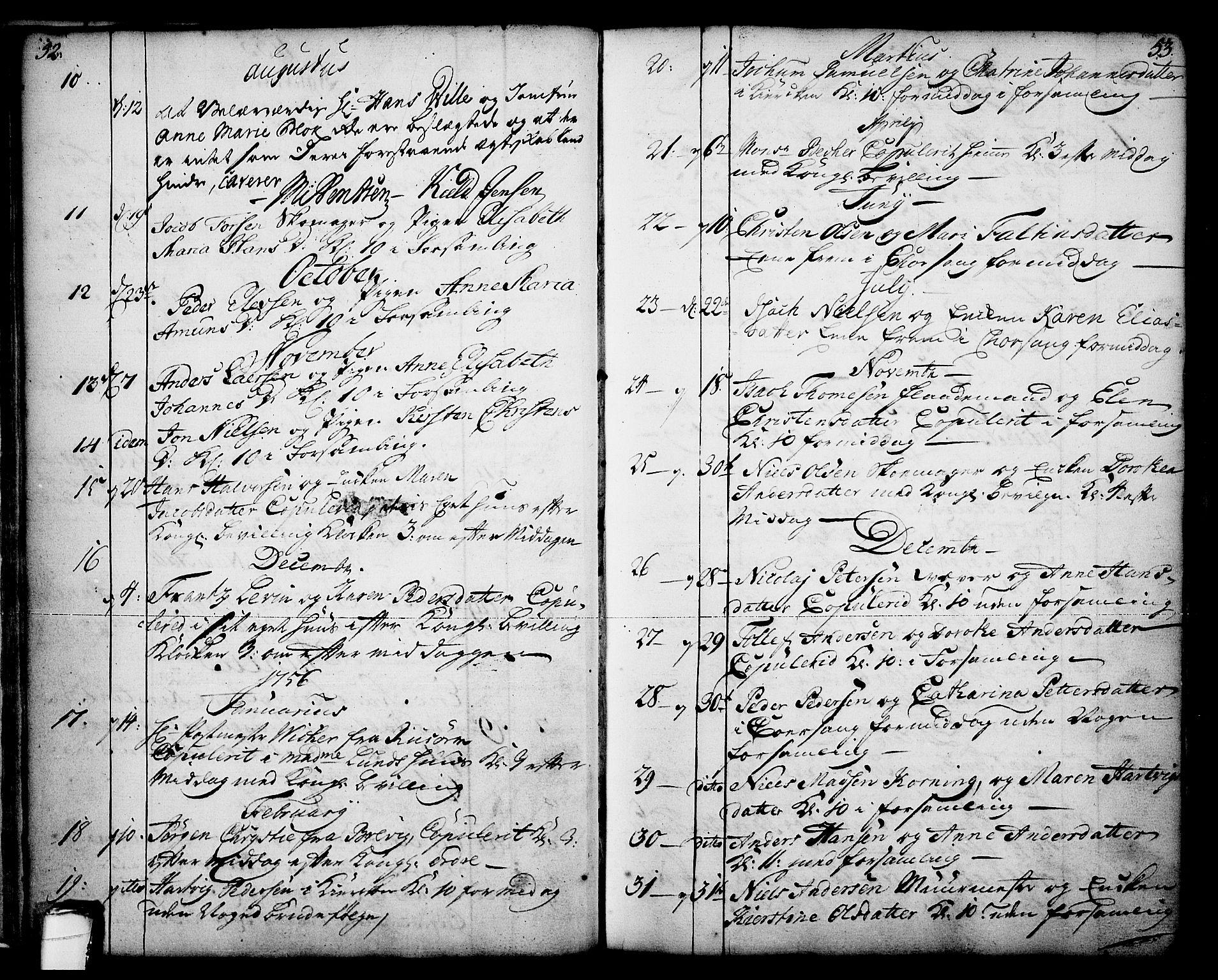 SAKO, Skien kirkebøker, F/Fa/L0003: Ministerialbok nr. 3, 1755-1791, s. 52-53