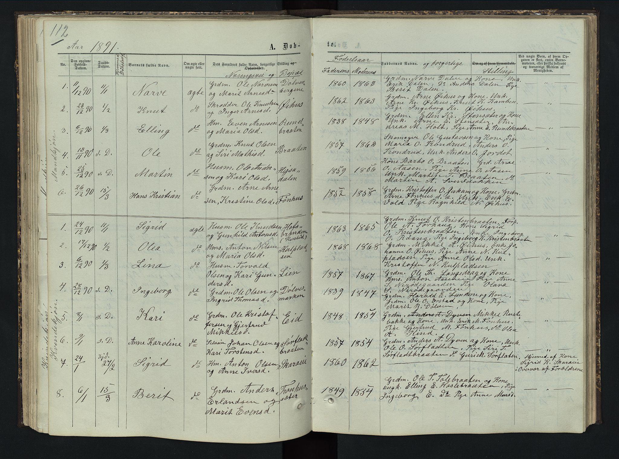 SAH, Sør-Aurdal prestekontor, Klokkerbok nr. 5, 1866-1893, s. 112