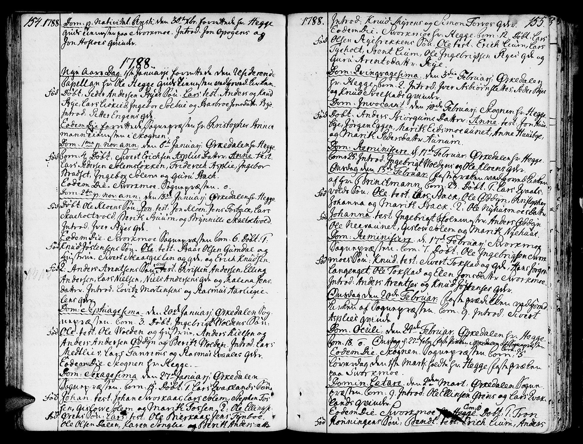 SAT, Ministerialprotokoller, klokkerbøker og fødselsregistre - Sør-Trøndelag, 668/L0802: Ministerialbok nr. 668A02, 1776-1799, s. 154-155