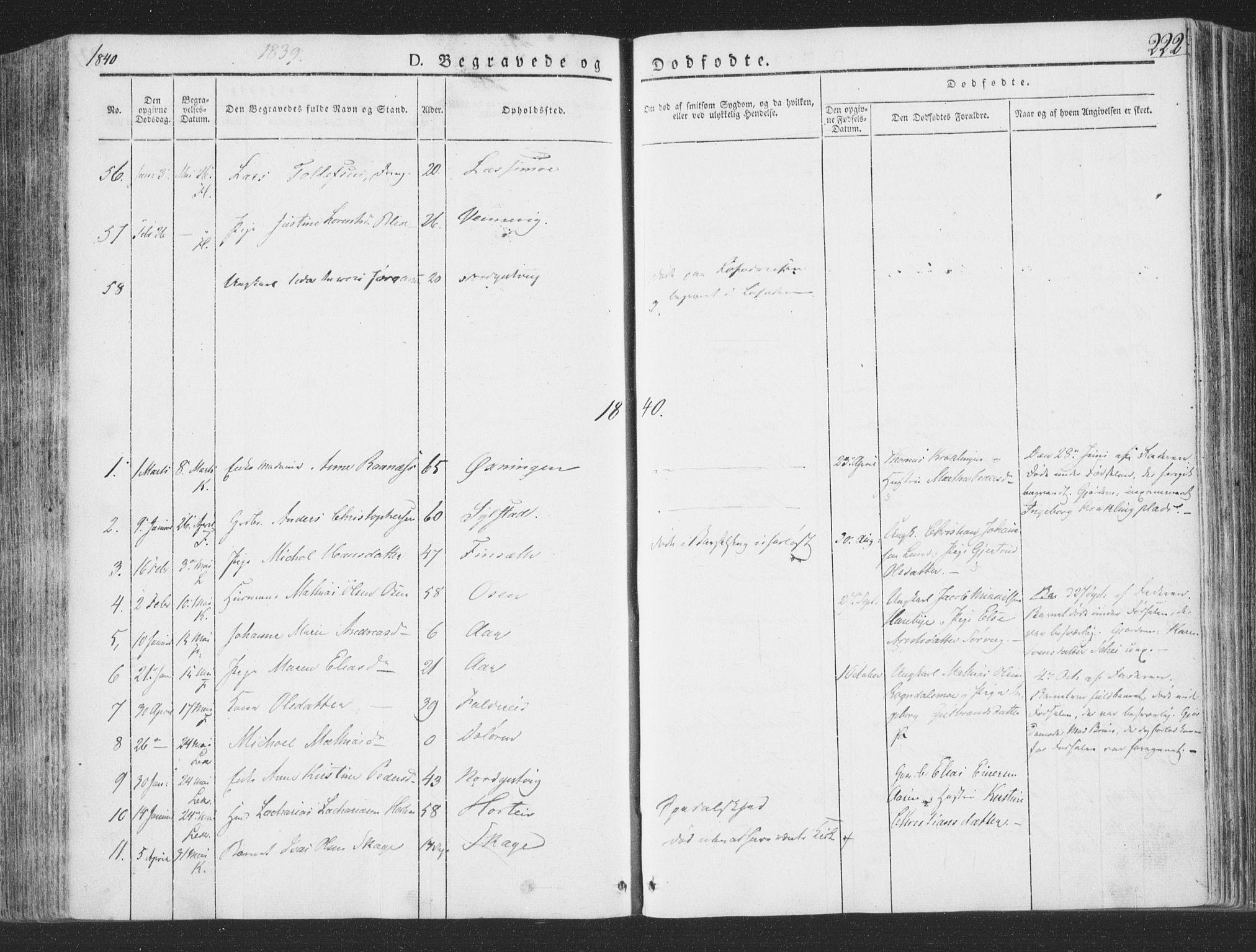 SAT, Ministerialprotokoller, klokkerbøker og fødselsregistre - Nord-Trøndelag, 780/L0639: Ministerialbok nr. 780A04, 1830-1844, s. 222