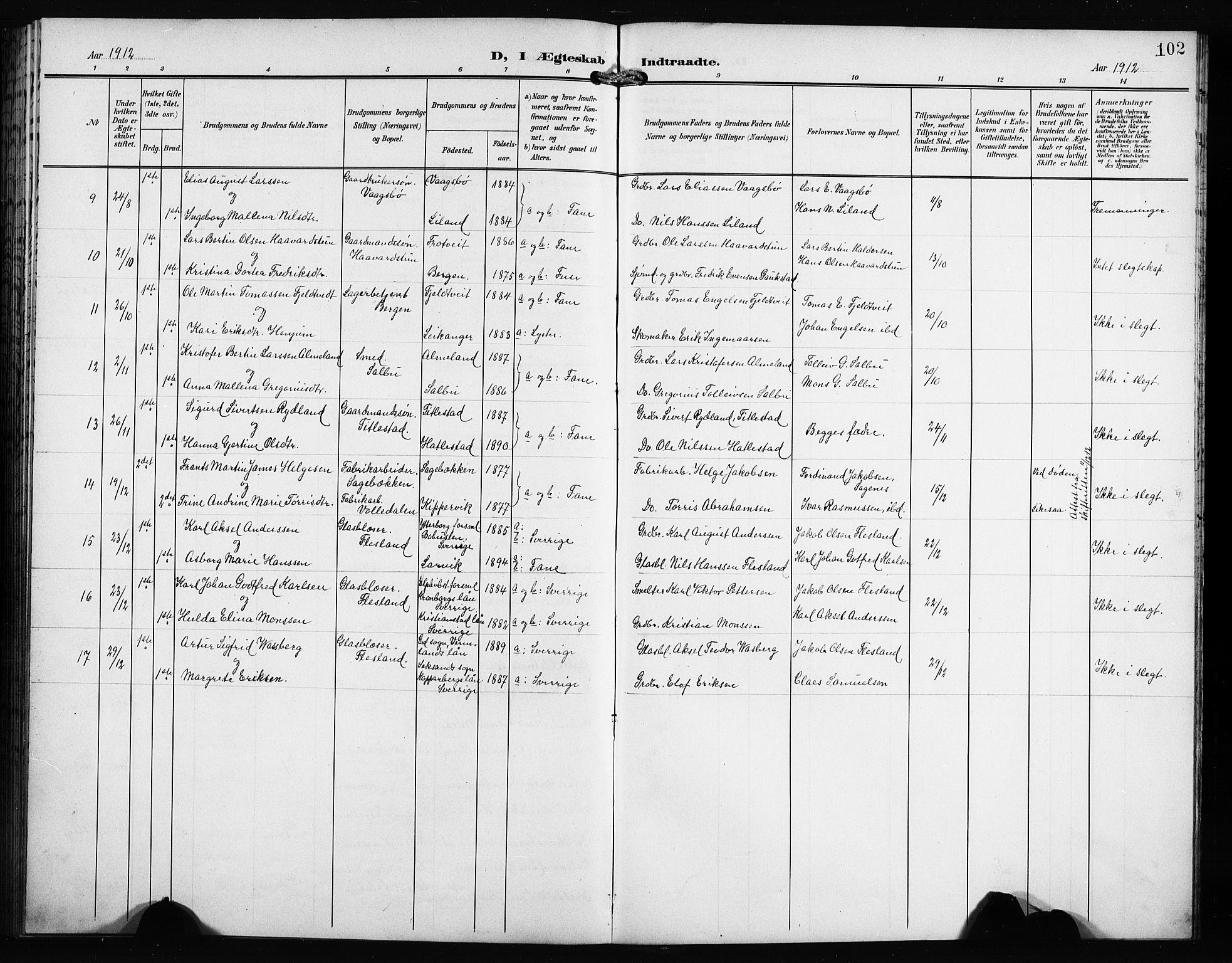 SAB, Fana Sokneprestembete, H/Hab: Klokkerbok nr. B 4, 1902-1912, s. 102