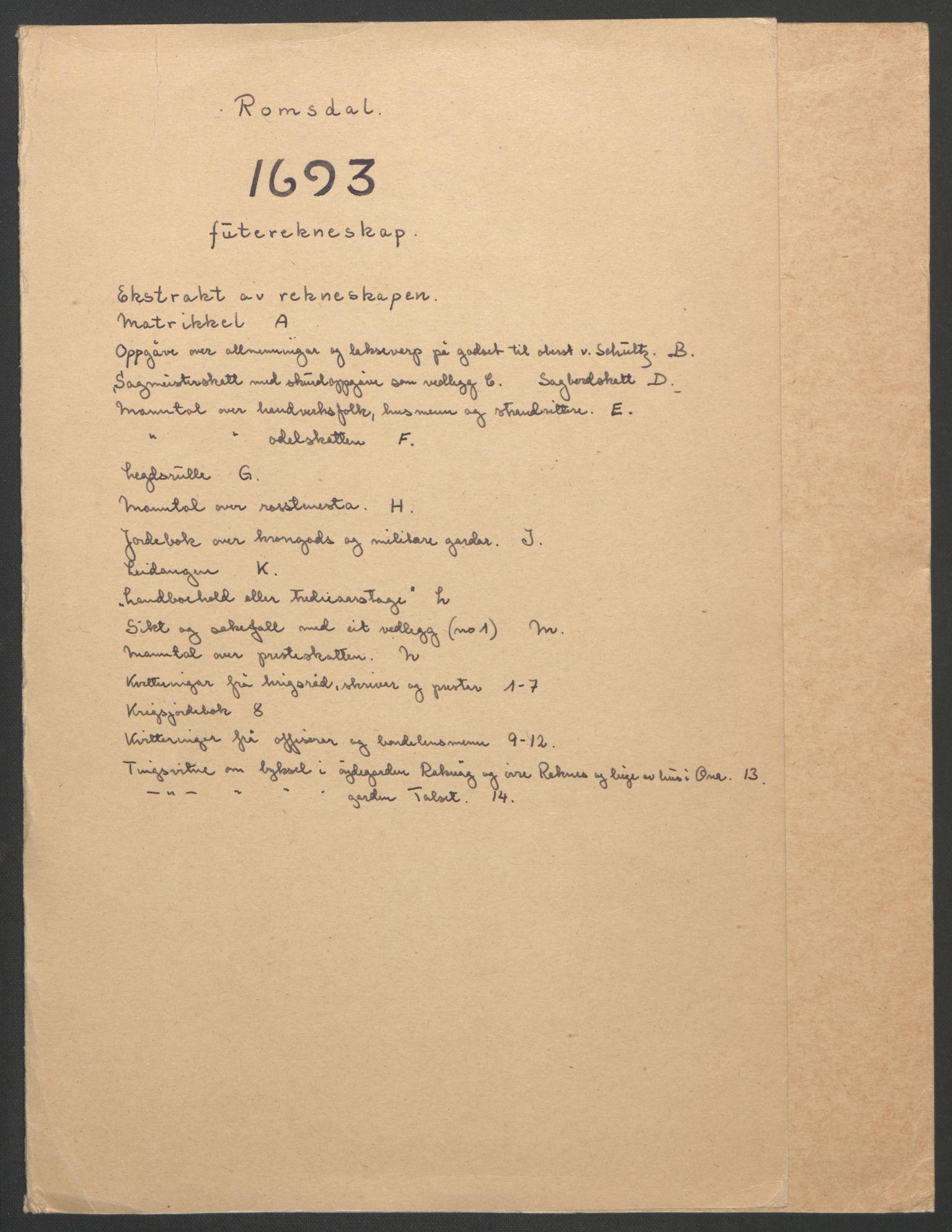 RA, Rentekammeret inntil 1814, Reviderte regnskaper, Fogderegnskap, R55/L3651: Fogderegnskap Romsdal, 1693-1694, s. 2