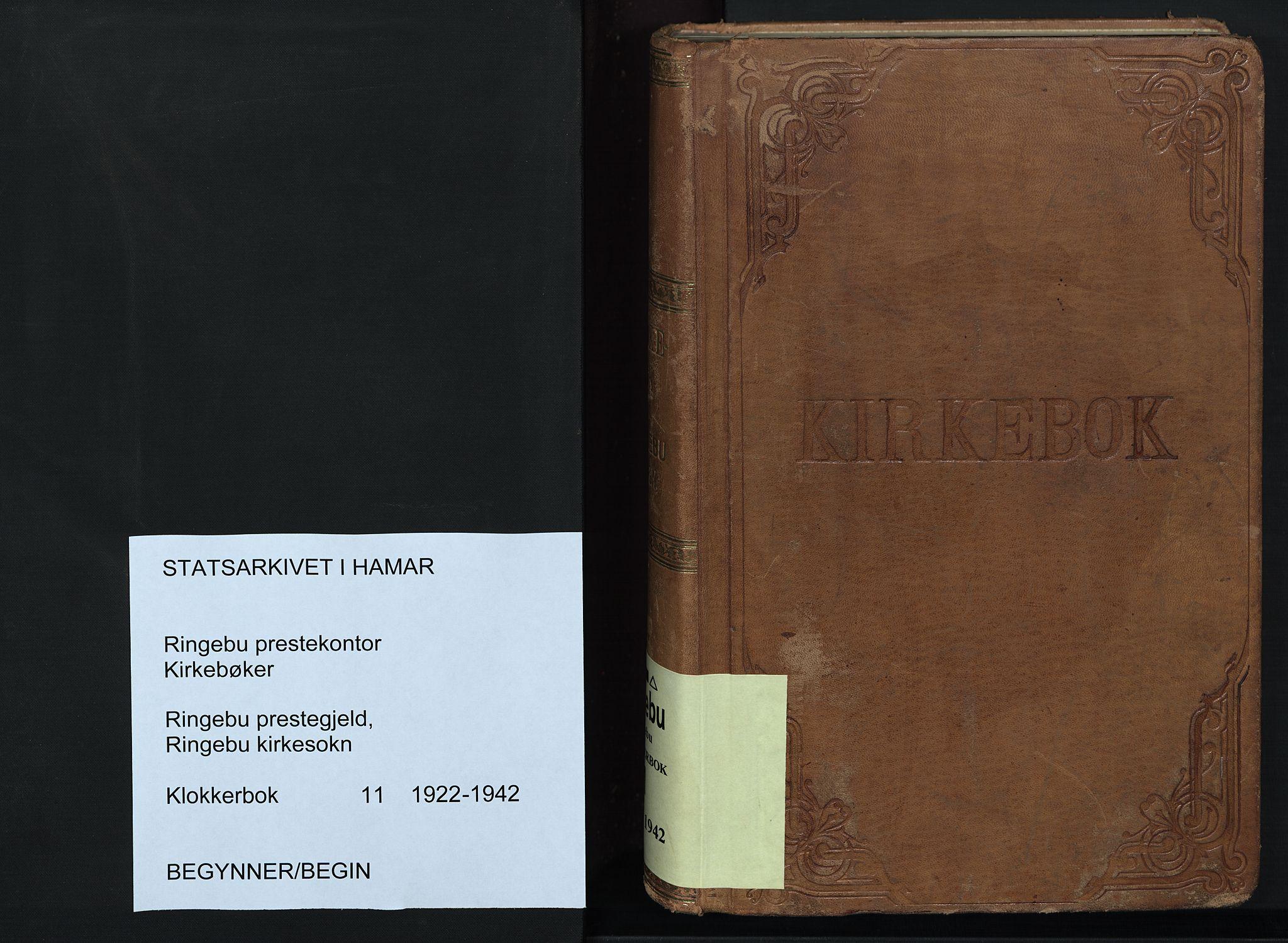 SAH, Ringebu prestekontor, Klokkerbok nr. 11, 1921-1943