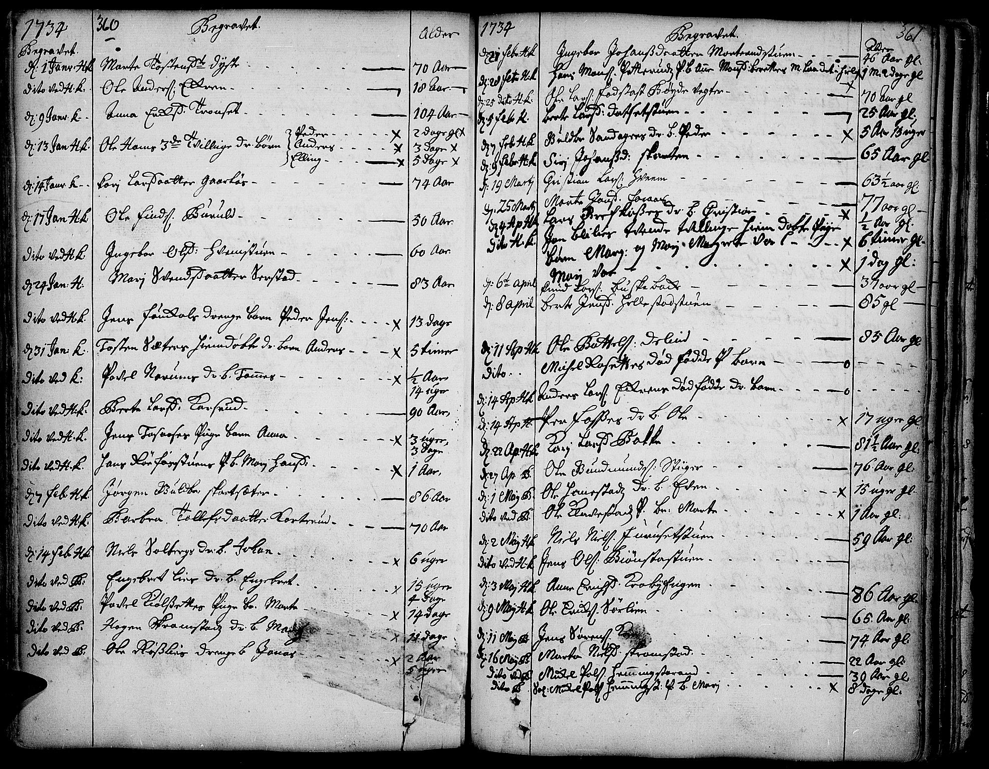 SAH, Toten prestekontor, Ministerialbok nr. 3, 1734-1751, s. 360-361
