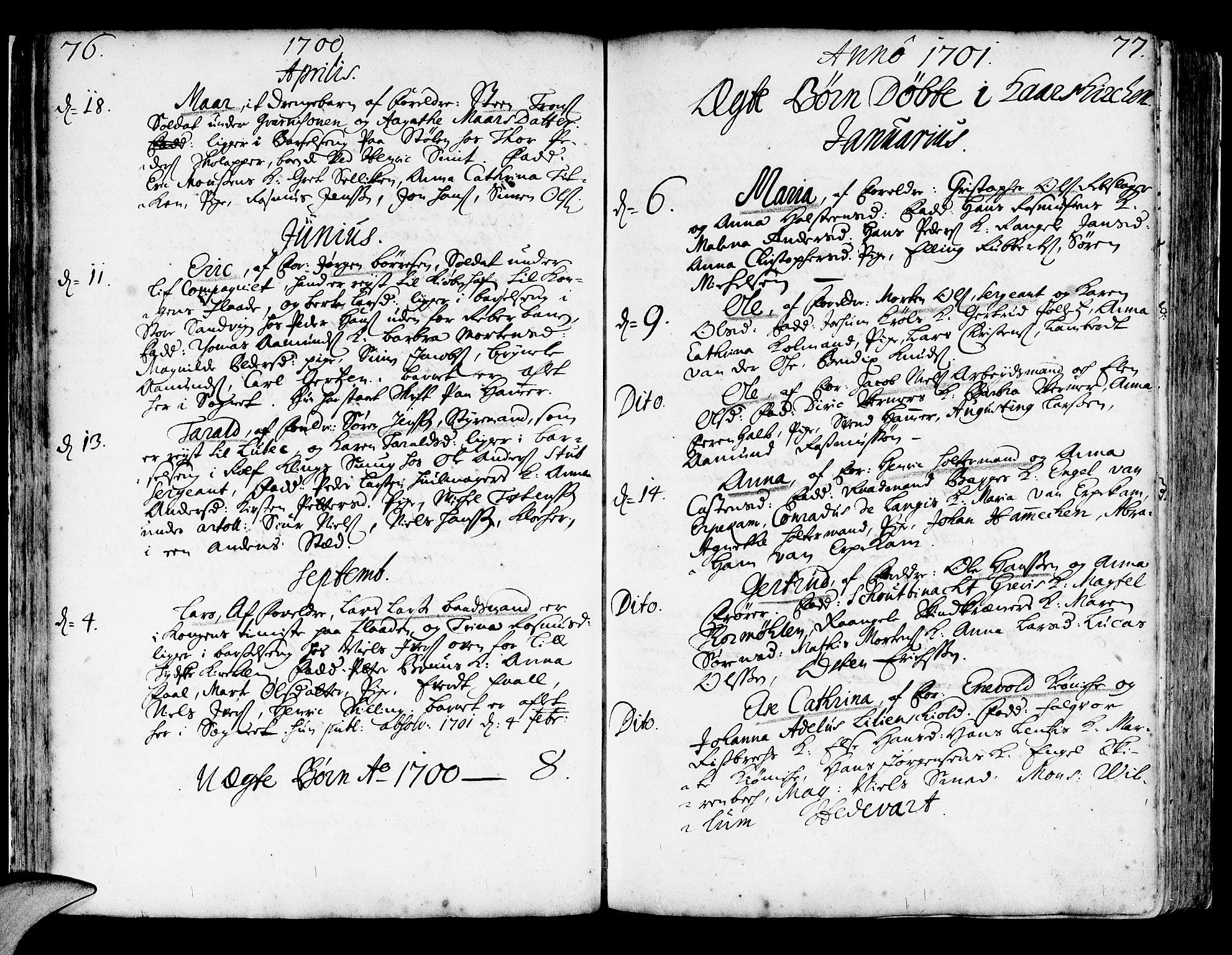 SAB, Korskirken Sokneprestembete, H/Haa/L0003: Ministerialbok nr. A 3, 1698-1719, s. 76-77