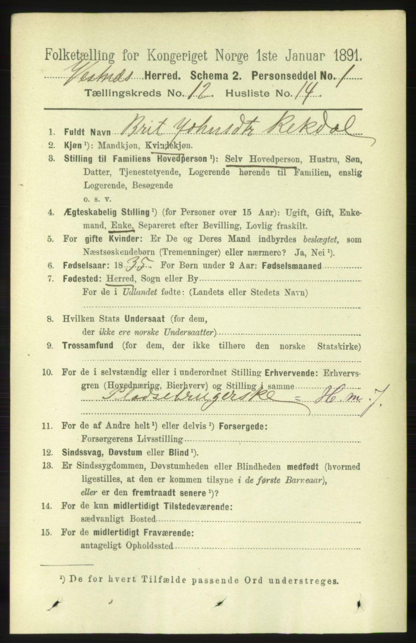 RA, Folketelling 1891 for 1535 Vestnes herred, 1891, s. 4481