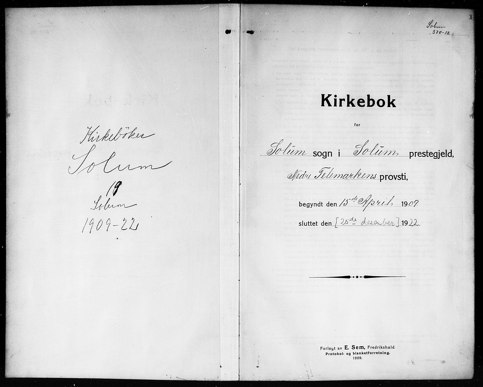 SAKO, Solum kirkebøker, G/Ga/L0009: Klokkerbok nr. I 9, 1909-1922, s. 1