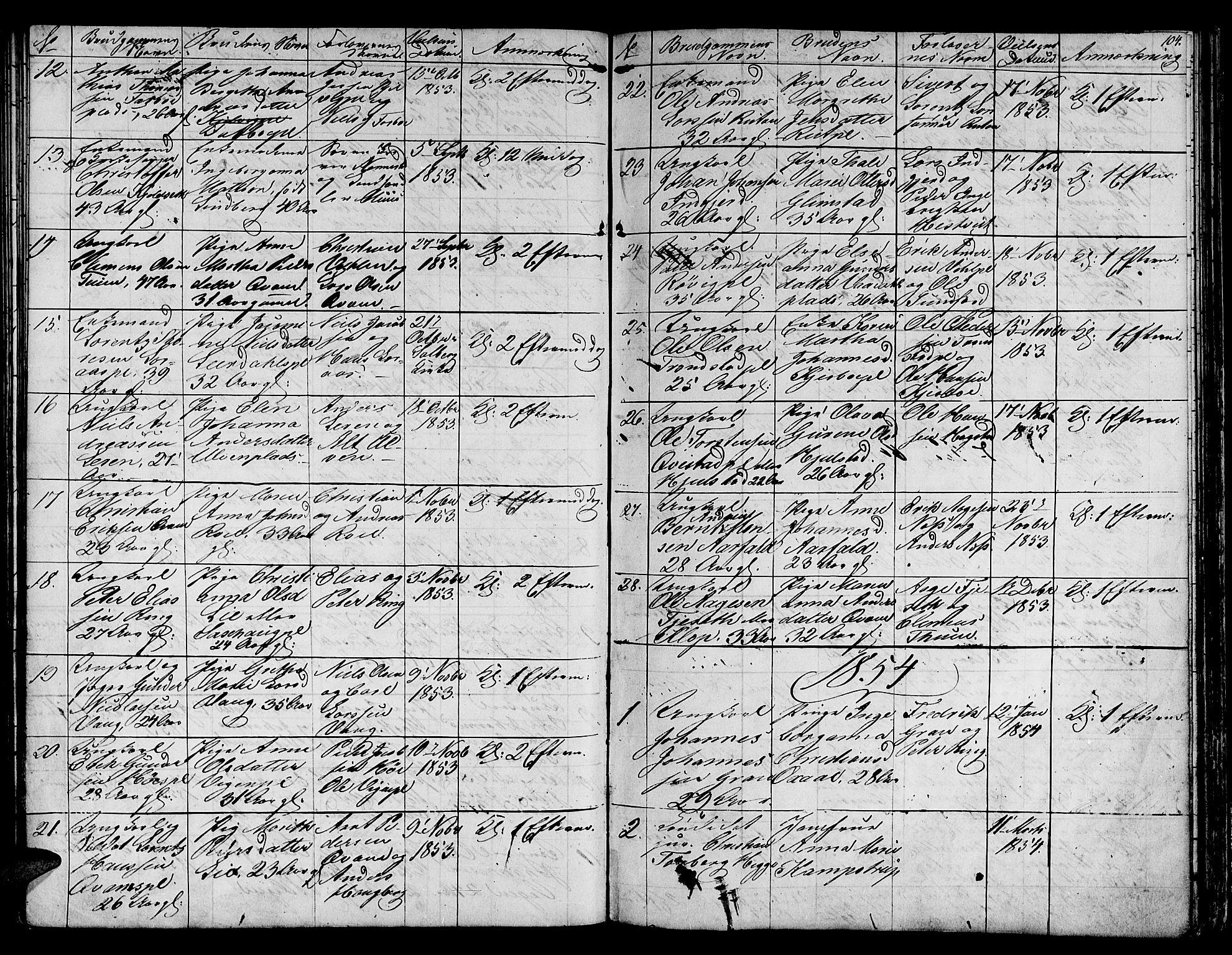 SAT, Ministerialprotokoller, klokkerbøker og fødselsregistre - Nord-Trøndelag, 730/L0299: Klokkerbok nr. 730C02, 1849-1871, s. 104