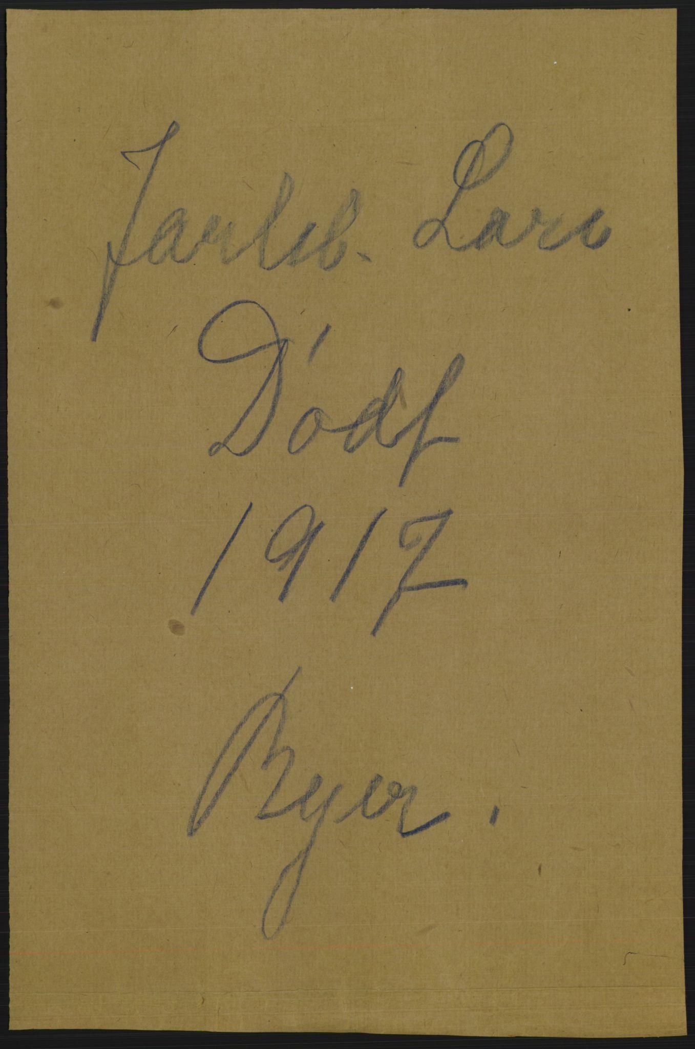 RA, Statistisk sentralbyrå, Sosiodemografiske emner, Befolkning, D/Df/Dfb/Dfbg/L0023: Jarlsberg og Larviks amt: Døde, dødfødte. Bygder og byer., 1917